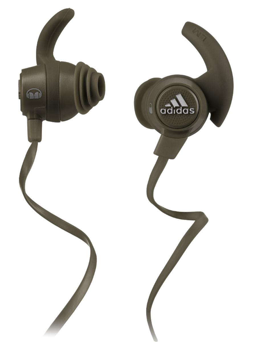 Monster Adidas Sport Response, Olive Green наушники137020-00Наушники с микрофоном Monster Adidas Sport Response останутся на месте благодаря запатентованной технологии SportClip даже при увеличении интенсивности тренировки, а погружаясь в чистый звук с технологией Pure Monster Sound, вы одновременно останетесь вовлеченными в окружающую действительность. Эти наушники дают вам погрузиться в море адреналина чистого звука, но одновременно безопасны для активного отдыха, бега или велосипедного спорта. Насадки с антибактериальным покрытием легко моются водой с небольшим количеством мыла. Вам больше не придется терять время на распутывание кабеля. Плоский кабель также наиболее удобен при одновременном использовании со шлемами, очками и масками.