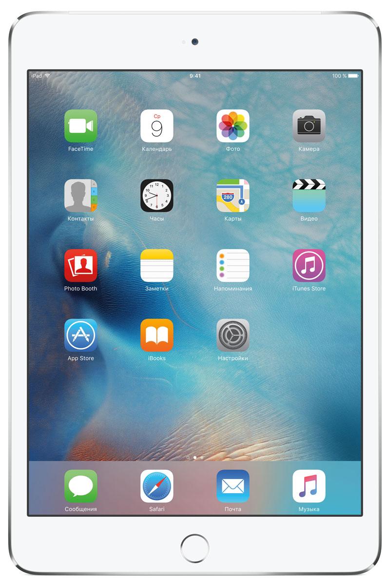 Apple iPad mini 4 Wi-Fi + Cellular 32GB, SilverMNWF2RU/AВ ещё более лёгком, тонком и элегантном корпусе iPad mini 4 помещается всё то, что вам так нравится в iPad. Игры, покупки, фильмы и даже работа - всё выглядит невероятно увлекательно на великолепном дисплее Retina. Теперь у вас ещё больше причин всегда брать iPad с собой.iPad mini 4 ещё никогда не был таким удобным. Его толщина всего 6,1 мм - и это никак не влияет на прочность. Надёжный и элегантный алюминиевый корпус unibody прослужит долгие годы и всегда будет радовать глаз.Дисплеи iPad mini предыдущих поколений производились из трёх отдельных компонентов. В iPad mini 4 их объединили в один. Исчезло расстояние между слоями, а вместе с ним и внутренние блики. Результат: на дисплее iPad mini 4 цвета стали ещё реалистичнее, а изображения выглядят контрастнее, ярче и резче.Процессор A8 второго поколения с 64-битной архитектурой - это сердце iPad mini 4. Благодаря невероятной производительности все приложения, от видеоредакторов до 3D-игр, работают легко и плавно. 64-битная архитектура гарантирует невероятную скорость работы и отклика, сравнимую с персональными компьютерами и игровыми консолями.Чтобы задействовать максимум графических возможностей процессора A8 и iOS 9, iPad mini 4 использует Metal - технологию Apple, которая позволяет разработчикам создавать невероятно реалистичные игры консольного уровня. Технология Metal оптимизирована таким образом, чтобы центральный и графический процессоры могли вместе работать над отображением детализированной графики и сложных визуальных эффектов.На iPad mini 4 установлена камера iSight с улучшенной 8-мегапиксельной матрицей, передовой оптикой и мощным процессором обработки сигналов изображения. Снимайте невероятно чёткие фотографии и впечатляющее HD-видео 1080p. HD-камера FaceTime также усовершенствована: новая матрица обеспечивает высокое качество видеозвонков даже при плохом освещении. А дисплей Retina высокого разрешения становится прекрасным видоискателем.Отпечаток па
