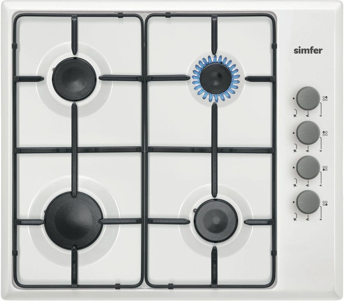 Simfer H60Q40W411 панель варочная газоваяH60Q40W411Газовая варочная панель Simfer H60Q40W411 с чистым пламенем доведет вашу сковороду до нужной температуры без всяких задержек. Включите её и всё днище сковороды будет моментально нагрето.Simfer H60Q40W411 упрощает приготовление и делает его безопаснее благодаря особой форме подставок, обеспечивающих абсолютную устойчивость посуды.Нет способа быстрее и удобнее для того, чтобы разжечь конфорку, чем автоподжиг варочной панели. Просто поверните ручку, чтобы открыть и зажечь газ одним плавным движением.