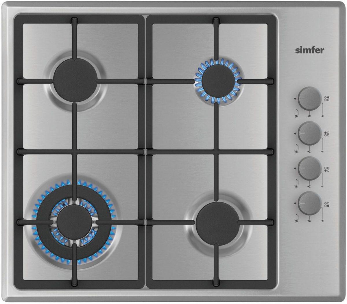Simfer H60Q41M411 панель варочная газоваяH60Q41M411Газовая варочная панель Simfer H60Q41M411 с чистым пламенем доведет вашу сковороду до нужной температуры без всяких задержек. Включите её и всё днище сковороды будет моментально нагрето.Simfer H60Q41M411 упрощает приготовление и делает его безопаснее благодаря особой форме подставок, обеспечивающих абсолютную устойчивость посуды.Нет способа быстрее и удобнее для того, чтобы разжечь конфорку, чем автоподжиг варочной панели. Просто поверните ручку, чтобы открыть и зажечь газ одним плавным движением.