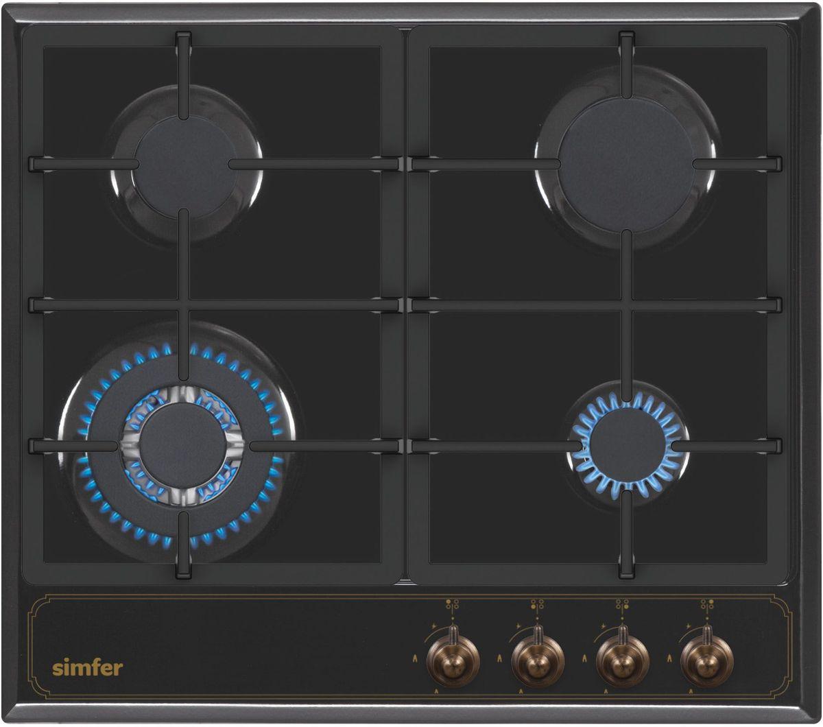 Simfer H60V41L511 панель варочная газоваяH60V41L511Газовая варочная панель Simfer H60V41L511 с чистым пламенем доведет вашу сковороду до нужной температуры без всяких задержек. Включите её и всё днище сковороды будет моментально нагрето.Благодаря идеальному расположению панели управления и индикатора уровня мощности прямо спереди этой варочной панели, любой повар, будь он левша или правша, сможет пользоваться ими с одинаковой лёгкостью.Газовая варочная поверхность Simfer H60V41L511 упрощает приготовление и делает его безопаснее благодаря особой форме подставок, обеспечивающих абсолютную устойчивость посуды.Нет способа быстрее и удобнее для того, чтобы разжечь конфорку, чем автоподжиг варочной панели. Просто поверните ручку, чтобы открыть и зажечь газ одним плавным движением.