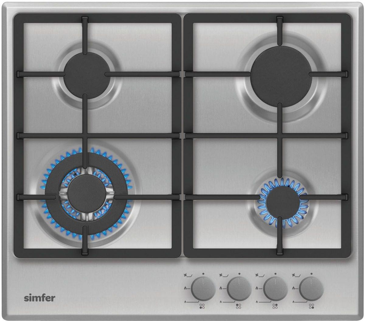 Simfer H60V41M511 панель варочная газоваяH60V41M511Газовая варочная панель Simfer H60V41M511 с чистым пламенем доведет вашу сковороду до нужной температуры без всяких задержек. Включите её и всё днище сковороды будет моментально нагрето.Благодаря идеальному расположению панели управления и индикатора уровня мощности прямо спереди этой варочной панели, любой повар, будь он левша или правша, сможет пользоваться ими с одинаковой лёгкостью.Газовая варочная поверхность Simfer H60V41M511 упрощает приготовление и делает его безопаснее благодаря особой форме подставок, обеспечивающих абсолютную устойчивость посуды.Нет способа быстрее и удобнее для того, чтобы разжечь конфорку, чем автоподжиг варочной панели. Просто поверните ручку, чтобы открыть и зажечь газ одним плавным движением.