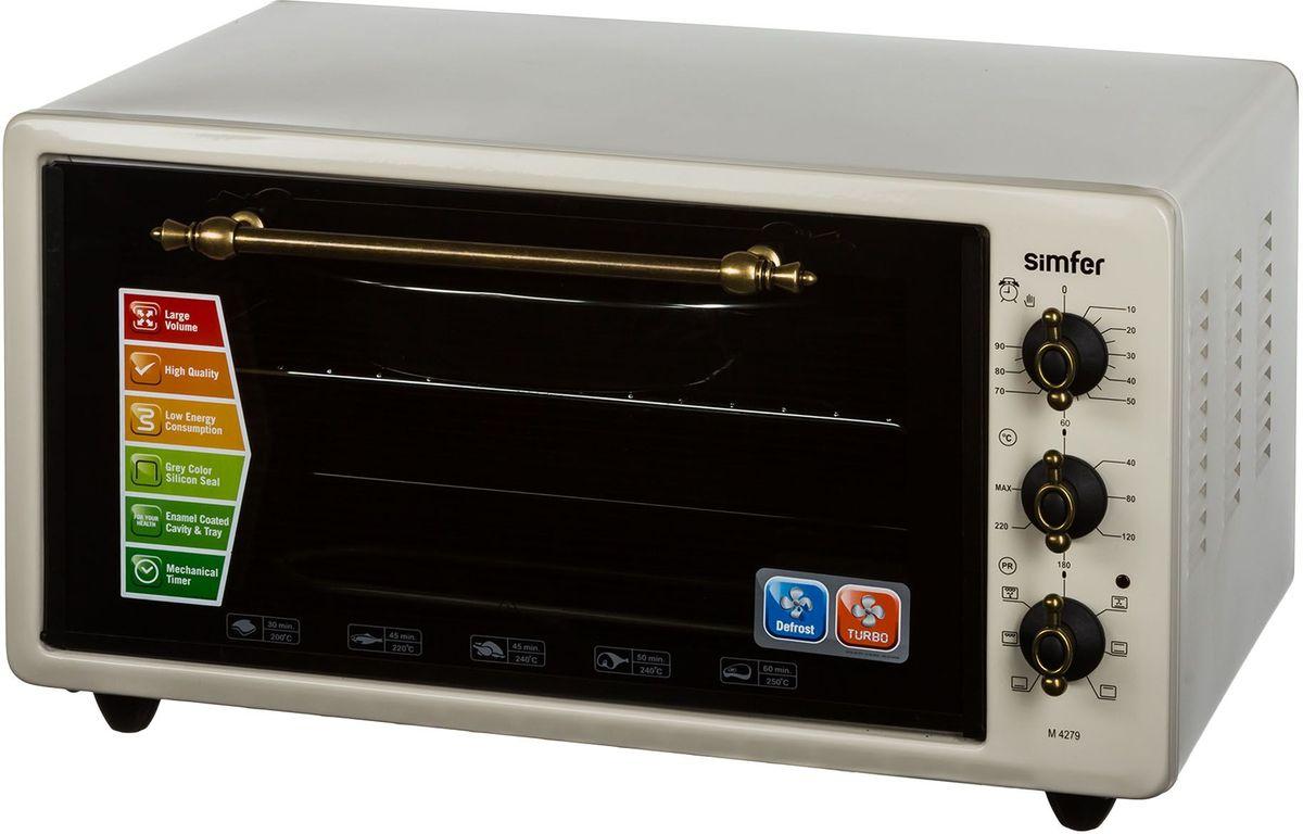 Simfer М4279 мини-печьM4279Simfer М4279 - компактная духовка с внутренним объемом 42 литров. Идеально подходит как для деликатного приготовления пищи, так и для приготовления блюд с хрустящей корочкой. Оснащена механическим таймером и шестью режимами нагрева. Легко очищается, комплектуется решеткой для гриля, плоским противнем и круглым противнем для выпекания.
