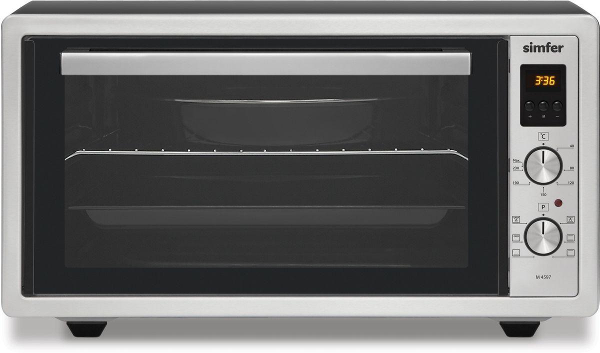 Simfer M4597 мини-печьM4597Simfer M4597 - компактная духовка с внутренним объемом 45 литров. Идеально подходит как для деликатного приготовления пищи, так и для приготовления блюд с хрустящей корочкой. Оснащена цифровым таймером и шестью режимами нагрева. Легко очищается, комплектуется решеткой для гриля и противнем для выпекания.