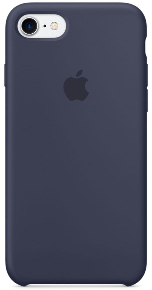 Apple Silicone Case чехол для iPhone 7, Midnight BlueMMWK2ZM/AApple Silicone Case плотно прилегает к кнопкам громкости и режима сна, точно повторяет контуры телефона, но при этом не делает его громоздким. Мягкая подкладка из микроволокна защищает корпус iPhone. А его внешняя силиконовая поверхность очень приятна на ощупь.