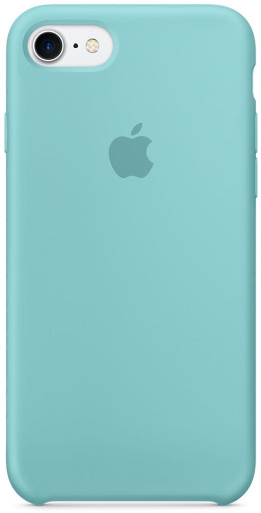 Apple Silicone Case чехол для iPhone 7, Sea BlueMMX02ZM/AApple Silicone Case плотно прилегает к кнопкам громкости и режима сна, точно повторяет контуры телефона, но при этом не делает его громоздким. Мягкая подкладка из микроволокна защищает корпус iPhone. А его внешняя силиконовая поверхность очень приятна на ощупь.