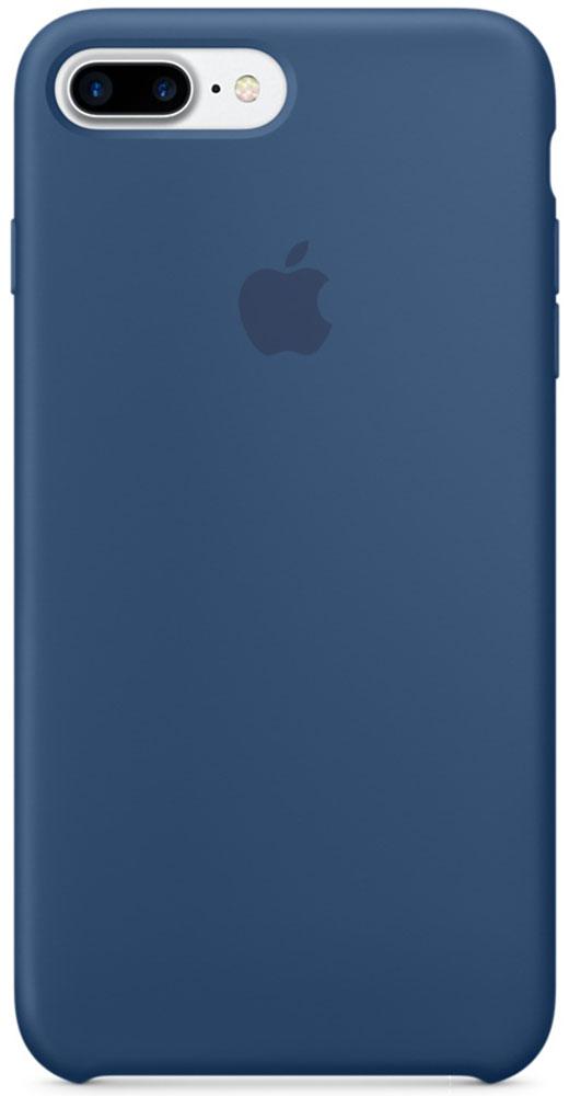 Apple Silicone Case чехол для iPhone 7 Plus, Ocean BlueMMQX2ZM/AApple Silicone Case плотно прилегает к кнопкам громкости и режима сна, точно повторяет контуры телефона, но при этом не делает его громоздким. Мягкая подкладка из микроволокна защищает корпус iPhone. А его внешняя силиконовая поверхность очень приятна на ощупь.