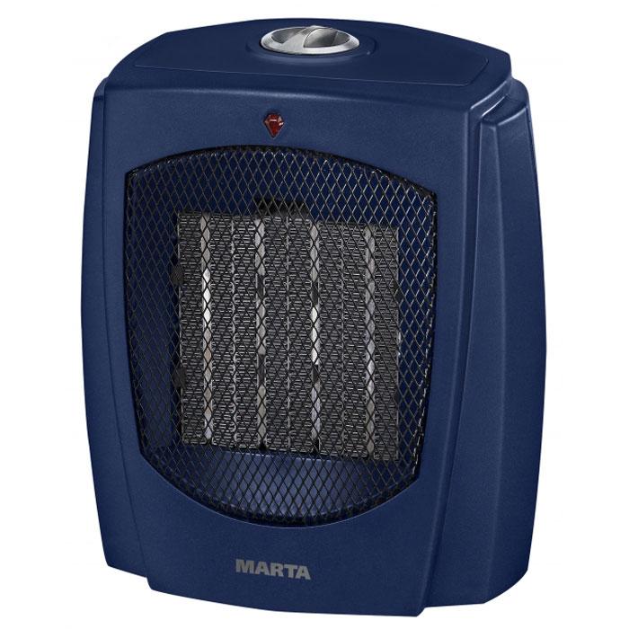 Marta MT-2499, Blue Sapphire тепловентиляторMT-2499Тепловентилятор с керамическим нагревательным элементом Marta MT-2499 служит для быстрого прогрева помещения с наименьшими затратами электроэнергии. Принудительно нагнетая горячий воздух, тепловентилятор заставляет его циркулировать, смешиваясь с холодным, благодаря чему прогрев помещения происходит значительно быстрее, чем в случае обычных обогревателей. Керамический нагревательный элемент создан из природного натурального материала, не выделяет при нагревании вредных примесей, не имеет запаха и очень быстро достигает рабочей температуры, сохраняя оптимальной влажность воздуха. Тепловентилятор Marta MT-2499 может работать в режиме обычного вентилятора, а также нагнетать теплый или горячий воздух. Используя разные режимы работы можно добиться установления в помещении устойчивого и комфортного микроклимата. Материал корпуса – термостойкий пластик абсолютно безвреден и соответствует всем стандартам безопасности. Керамический нагревательный элементСоздан из природного натурального экологически чистого материала, не выделяющего примесей при сильном нагреве, не имеющего запаха. Керамика быстро нагревается и хорошо удерживает тепло, поэтому приборы с керамическими нагревательными элементами экономят электроэнергию.3 режима работыРежим вентилятора без нагрева, режим теплого потока воздуха и режим горячего потока воздуха.