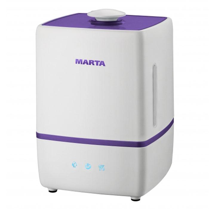 Marta MT-2669, Light Charoite увлажнитель воздухаMT-2669Увлажнитель воздуха Marta MT-2669 бесшумно нормализует уровень влажности в помещении до идеального уровня. Вы почувствуете разницу очень скоро, ведь от уровня влажности зависит не только ваша работоспособность, но и качество отдыха. Три режима интенсивности увлажнения и биполярная ионизация позволяют создавать необходимый именно вам микроклимат, насыщая воздух ионами и поддерживая естественный уровень влажности.Режим Теплый воздух не позволит вашим детям простудиться и избавит их от большинства бытовых аллергенов. Marta MT-2669 оснащен вместительным пятилитровым резервуаром. При расходе воды всего 250 мл/ч, такой объем позволяет поддерживать комфортные условия в жилом помещении на протяжении суток. Удобное и простое управление осуществляется при помощи сенсорной панели со светодиодной индикацией.