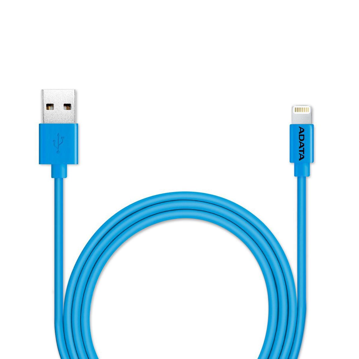 ADATA Lightning-USB MFI, Blue кабель (1 м)21702Кабель ADATA Lightning-USB MFI, для зарядки и синхронизации с сертификатом MFi от компании ADATA позволит вам без проблем заряжать устройства iPhone, iPad и iPod и выполнять синхронизацию данных между устройствами для поддержания высокой мобильности вашей жизни! Имеющий прочную многослойную структуру с использованием луженых медных проводников, надежный и долговечный кабель зарядки и синхронизации Apple Lightning обеспечивает быструю зарядку током до 2,4А и эффективную защиту от вредных электромагнитных помех.Кабель зарядки и синхронизации Apple Lightning - это стильный мобильный аксессуар, выпускаемый в нескольких ярких цветных и металлизированных вариантах, включая варианты с подобранным по цвету кабельным хомутом, обеспечивающим удобство укладки кабеля.