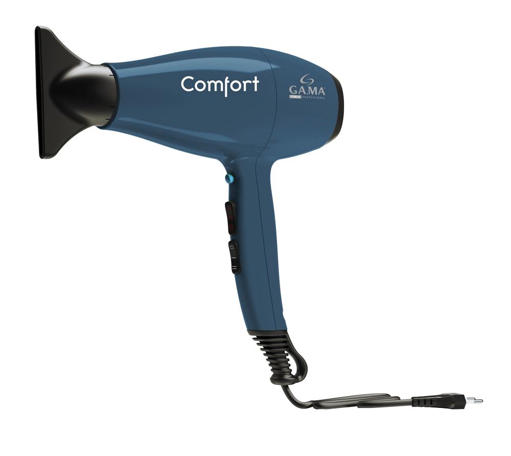 GA.MA Comfort, Blue фенA21.COMFORT.BLНевероятно тихая работа и облегченная конструкция фена Comfort обеспечивает непревзойденное удобство, что идеально для частого использования. Мощный поток воздуха в сочетании с бережным воздействием на волосы гарантирует идеальную укладку за короткое время и делает ваши волосы здоровыми и блестящими. Турмалиновое покрытие решетки фена для сохранения естественной увлажненности волос.