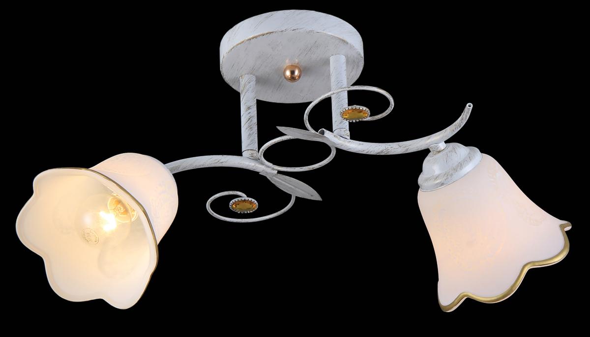 Люстра Natali Kovaltseva, 2 x E14, 40W. 11452/211452/2 WHITE GOLDЛюстра Natali Kovaltseva, выполненная в классическом дизайне, станет украшением вашей комнаты и изысканно дополнит интерьер. Изделие крепится к потолку. Такая люстра отлично подойдет для освещения кабинета, столовой, спальни или гостиной. Люстра выполнена из белого окрашенного металла с декоративным золотистым покрытием под старину и оснащена 2 плафонами из матового стекла в форме бутонов цветка. Изделие дополнено круглыми желтыми кристаллами. В коллекциях Natali Kovaltseva представлены разные стили - от классики до хайтека. Дизайн и технологическая составляющая продукции разрабатывается в R&D центре компании, который находится в г. Дюссельдорф, Германия. При производстве продукции используются высококачественные и эксклюзивные материалы: хрусталь ASFOR, муранское стекло, перламутр, 24-каратное золото, бронза. Производство светильников соответствует стандарту системы менеджмента качества ISO 9001-2000. На всю продукцию ТМ Natali Kovaltseva распространяется гарантия.