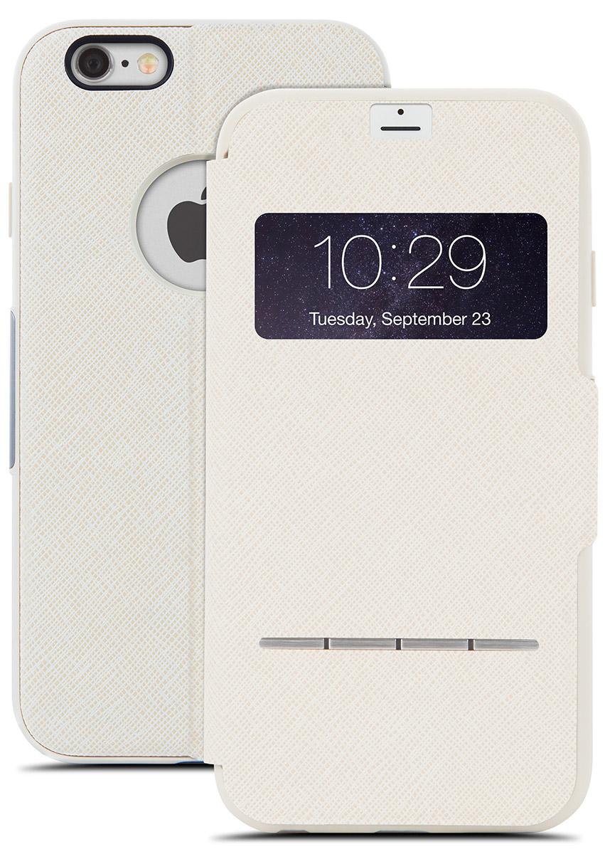 Moshi SenseCoverчехол дляiPhone 6/6s, Beige21772Чехол Moshi SenseCover для iPhone 6/6s обеспечивает смарт-функциональность и полную защиту вашего iPhone. Встроенные SensArray кнопки-подушечки позволяют отвечать на звонки, не открывая крышку. Кроме того, окно просмотра, устойчивое к царапинам, позволяет проверить такую информацию, как дата / время и номер вызывающего абонента с одного взгляда. Чехол легко трансформируется в подставку, создавая комфорт при работе, чтении, просмотре фильмов.