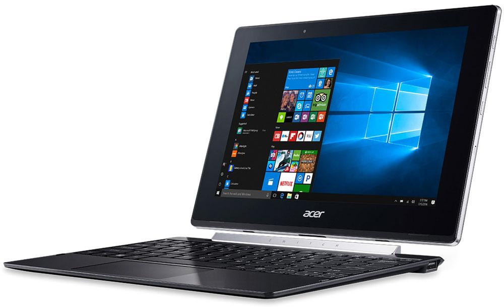 Acer Switch V10 SW5-017-16AB, BlackNT.LCVER.001Acer Switch V10 SW5-017-16AB - компактный и производительный ноутбук-планшет для повседневных задач как в офисе, так и в пути.Тщательно продуманный механизм крепления Acer Snap Hinge 2 позволяет отсоединять и присоединять клавиатуру одним движением, без малейших усилий. Переключайтесь с легкостью между четырьмя режимами: ноутбук, планшет, презентация и дисплей.Процессор Intel Atom x5-Z8350 обеспечивает более высокое качество графики и улучшенную производительность, а также энергоэффективность. Это устройство 2-в-1 работает под управлением ОС Windows 10 и поддерживает функцию Continuum, которая автоматически переключает пользовательский интерфейс из режима планшета в режим ноутбук.Этот ноутбук создан с применением технологии Acer VisionCare, позволяющей включить защитный экран Acer BluelightShield, который уменьшает синее свечение экрана и предотвращает утомление глаз во время долгой работы. Технология Acer LumiFlex автоматически увеличивает контрастность при работе в условиях прямого солнечного освещения, в том числе вне помещений — вам больше не придется щуриться, чтобы рассмотреть изображение на экране.Дисплей с технологией IPS обеспечивает четкое изображение независимо от угла обзора. Экран защищен сверхпрочным стеклом Gorilla Glass, устойчивым к царапинам и делающим их менее заметными. Двойные динамики обеспечивают отличное качество звука, а две камеры (тыловая 5 Мпикс и фронтальная 2 Мпикс)позволяют с легкостью совершать видеозвонки.Точные характеристики зависят от модели.Ноутбук сертифицирован EAC и имеет русифицированную клавиатуру и Руководство пользователя.