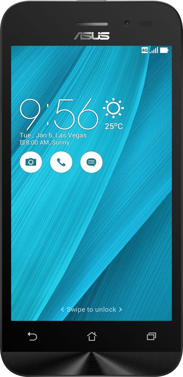 ASUS ZenFone Go ZB450KL, Silver Blue (90AX0097-M00400)90AX0097-M00400Asus ZenFone Go ZB450KL - стильный современный смартфон с множеством вариантов цветов корпуса.Современный процессор Qualcomm Snapdragon обеспечивает высокую производительность ZenFone Go в многозадачном режиме.ZenFone Go выполнен в эргономичном корпусе, который удобно ложится в ладонь. Оригинальным и весьма удобным решением в его дизайне является расположенная на задней панели корпуса кнопка, с помощью которой можно делать фотоснимки, изменять громкость звука и т.д.Подчеркните свою индивидуальность, выбрав ZenFone Go своего любимого цвета из нескольких доступных вариантов. А затем установите соответствующую визуальную тему пользовательского интерфейса ASUS ZenUI.Для съемки ярких фотографий данный смартфон оснащается тыловой камерой с высоким разрешением. Ловите красивые моменты жизни вместе с ZenFone Go!ZenFone Go оснащается двумя слотами для SIM-карт, что позволяет использовать одновременно два телефонных номера, например рабочий и личный. Применяемый в нем модуль мобильной связи также может похвастать пониженным энергопотреблением, что положительно сказывается на времени автономной работы устройства.Время автономной работы ZenFone Go в сетях 3G составляет до 14,6 часов в режиме разговора и до 400 часов в режиме ожидания. А при просмотре веб-сайтов по Wi-Fi он проработает до 13 часов без подзарядки!В смартфоне ZenFone Go реализован пользовательский интерфейс ZenUI, разработанный специально для мобильных устройств ASUS. Отличаясь современным дизайном и удобством представления информации, он отражает концепции свободы самовыражения и общения без границ.Телефон сертифицирован EAC и имеет русифицированный интерфейс меню и Руководство пользователя.