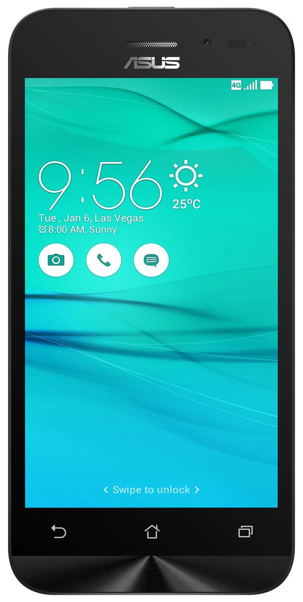 ASUS ZenFone Go ZB450KL, White (90AX0092-M00370)90AX0092-M00370Asus ZenFone Go ZB450KL - стильный современный смартфон с множеством вариантов цветов корпуса.Современный процессор Qualcomm Snapdragon обеспечивает высокую производительность ZenFone Go в многозадачном режиме.ZenFone Go выполнен в эргономичном корпусе, который удобно ложится в ладонь. Оригинальным и весьма удобным решением в его дизайне является расположенная на задней панели корпуса кнопка, с помощью которой можно делать фотоснимки, изменять громкость звука и т.д.Подчеркните свою индивидуальность, выбрав ZenFone Go своего любимого цвета из нескольких доступных вариантов. А затем установите соответствующую визуальную тему пользовательского интерфейса ASUS ZenUI.Для съемки ярких фотографий данный смартфон оснащается тыловой камерой с высоким разрешением. Ловите красивые моменты жизни вместе с ZenFone Go!ZenFone Go оснащается двумя слотами для SIM-карт, что позволяет использовать одновременно два телефонных номера, например рабочий и личный. Применяемый в нем модуль мобильной связи также может похвастать пониженным энергопотреблением, что положительно сказывается на времени автономной работы устройства.Время автономной работы ZenFone Go в сетях 3G составляет до 14,6 часов в режиме разговора и до 400 часов в режиме ожидания. А при просмотре веб-сайтов по Wi-Fi он проработает до 13 часов без подзарядки!В смартфоне ZenFone Go реализован пользовательский интерфейс ZenUI, разработанный специально для мобильных устройств ASUS. Отличаясь современным дизайном и удобством представления информации, он отражает концепции свободы самовыражения и общения без границ.Телефон сертифицирован EAC и имеет русифицированный интерфейс меню и Руководство пользователя.