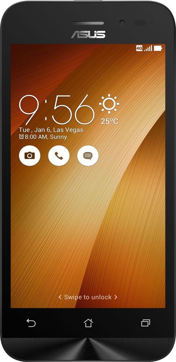 ASUS ZenFone Go ZB450KL, Gold (90AX0095-M00210)90AX0095-M00210Asus ZenFone Go ZB450KL - стильный современный смартфон с множеством вариантов цветов корпуса.Современный процессор Qualcomm Snapdragon обеспечивает высокую производительность ZenFone Go в многозадачном режиме.ZenFone Go выполнен в эргономичном корпусе, который удобно ложится в ладонь. Оригинальным и весьма удобным решением в его дизайне является расположенная на задней панели корпуса кнопка, с помощью которой можно делать фотоснимки, изменять громкость звука и т.д.Подчеркните свою индивидуальность, выбрав ZenFone Go своего любимого цвета из нескольких доступных вариантов. А затем установите соответствующую визуальную тему пользовательского интерфейса ASUS ZenUI.Для съемки ярких фотографий данный смартфон оснащается тыловой камерой с высоким разрешением. Ловите красивые моменты жизни вместе с ZenFone Go!ZenFone Go оснащается двумя слотами для SIM-карт, что позволяет использовать одновременно два телефонных номера, например рабочий и личный. Применяемый в нем модуль мобильной связи также может похвастать пониженным энергопотреблением, что положительно сказывается на времени автономной работы устройства.Время автономной работы ZenFone Go в сетях 3G составляет до 14,6 часов в режиме разговора и до 400 часов в режиме ожидания. А при просмотре веб-сайтов по Wi-Fi он проработает до 13 часов без подзарядки!В смартфоне ZenFone Go реализован пользовательский интерфейс ZenUI, разработанный специально для мобильных устройств ASUS. Отличаясь современным дизайном и удобством представления информации, он отражает концепции свободы самовыражения и общения без границ.Телефон сертифицирован EAC и имеет русифицированный интерфейс меню и Руководство пользователя.