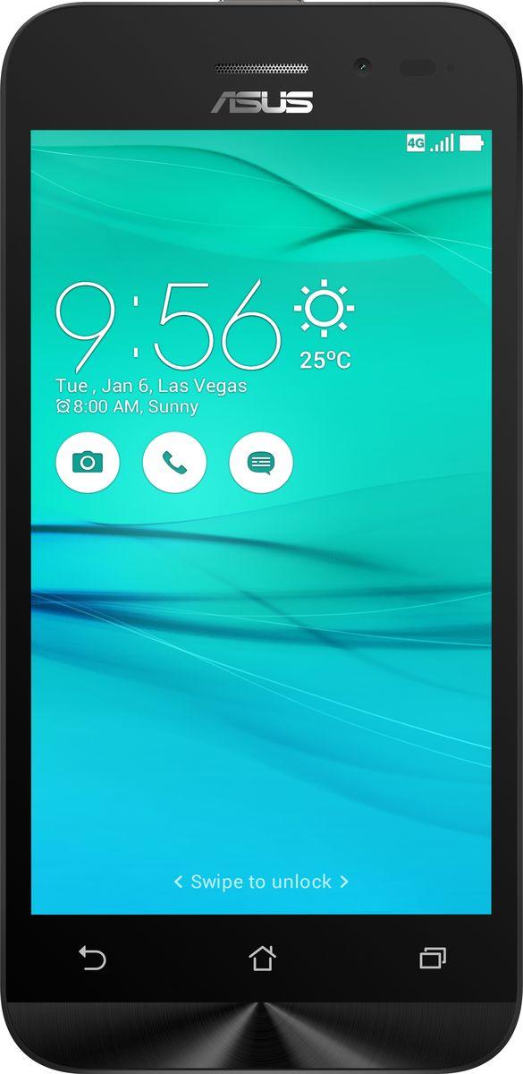 ASUS ZenFone Go ZB450KL, Black (90AX0091-M00200)90AX0091-M00200Asus ZenFone Go ZB450KL - стильный современный смартфон с множеством вариантов цветов корпуса.Современный процессор Qualcomm Snapdragon обеспечивает высокую производительность ZenFone Go в многозадачном режиме.ZenFone Go выполнен в эргономичном корпусе, который удобно ложится в ладонь. Оригинальным и весьма удобным решением в его дизайне является расположенная на задней панели корпуса кнопка, с помощью которой можно делать фотоснимки, изменять громкость звука и т.д.Подчеркните свою индивидуальность, выбрав ZenFone Go своего любимого цвета из нескольких доступных вариантов. А затем установите соответствующую визуальную тему пользовательского интерфейса ASUS ZenUI.Для съемки ярких фотографий данный смартфон оснащается тыловой камерой с высоким разрешением. Ловите красивые моменты жизни вместе с ZenFone Go!ZenFone Go оснащается двумя слотами для SIM-карт, что позволяет использовать одновременно два телефонных номера, например рабочий и личный. Применяемый в нем модуль мобильной связи также может похвастать пониженным энергопотреблением, что положительно сказывается на времени автономной работы устройства.Время автономной работы ZenFone Go в сетях 3G составляет до 14,6 часов в режиме разговора и до 400 часов в режиме ожидания. А при просмотре веб-сайтов по Wi-Fi он проработает до 13 часов без подзарядки!В смартфоне ZenFone Go реализован пользовательский интерфейс ZenUI, разработанный специально для мобильных устройств ASUS. Отличаясь современным дизайном и удобством представления информации, он отражает концепции свободы самовыражения и общения без границ.Телефон сертифицирован EAC и имеет русифицированный интерфейс меню и Руководство пользователя.