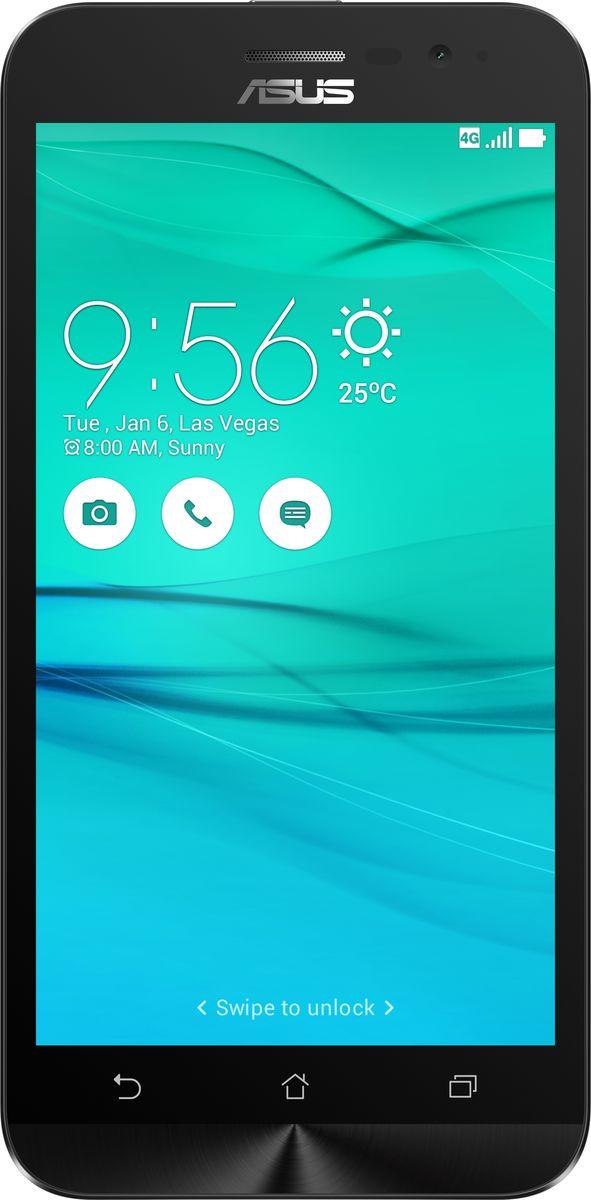 ASUS ZenFone Go ZB500KL, Black (90AX00A1-M00720)90AX00A1-M00720Поддержка двух SIM-карт, четкое изображение, интуитивно понятный пользовательский интерфейс – все это Вы найдете в новом смартфоне Asus ZenFone Go ZB500KL.Линейка мобильных продуктов Asus, разрабатываемых под общей философией Zen, - это устройства, которыми приятно пользоваться. Сочетая в себе широкую функциональность и великолепный дизайн, они идеально подходят для современного, мобильного стиля жизни.ZenFone Go выполнен в эргономичном корпусе, который удобно ложится в ладонь. Оригинальным и весьма удобным решением в его дизайне является расположенная на задней панели корпуса кнопка, с помощью которой можно делать фотоснимки, изменять громкость звука и т.д.Подчеркните свою индивидуальность, выбрав ZenFone Go своего любимого цвета из нескольких доступных вариантов. А затем установите соответствующую визуальную тему пользовательского интерфейса ASUS ZenUI.В ZenFone Go реализована эксклюзивная технология PixelMaster, представляющая собой комплекс аппаратных и программных функций, направленных на повышение качества мобильной фотографии.В режиме низкой освещенности камера смартфона объединяет каждый четыре пикселя датчика изображения в один для увеличения светочувствительности на 400%. При этом также минимизируется цветовой шум и увеличивается контрастность.В режиме увеличенного динамического диапазона (Super HDR) происходит автоматическое изменение параметров изображения с целью обеспечения равномерной засветки всей фотографии.Функция улучшения портрета позволяет автоматически украсить селфи-снимки в режиме реального времени: убрать дефекты кожи, подкорректировать черты лица и т.д.ZenFone Go оснащается двумя слотами для SIM-карт, что позволяет использовать одновременно два телефонных номера, например рабочий и личный. Применяемый в нем модуль мобильной связи уверенно работает даже в неблагоприятных условиях и может похвастать пониженным энергопотреблением, что положительно сказывается на времени автономной 