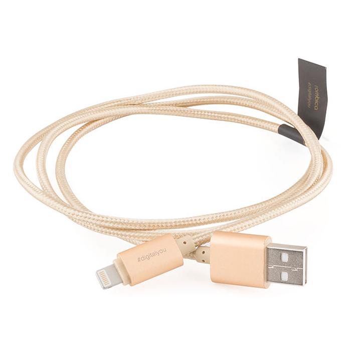 Rombica Digital Gold USB - Apple Lightning, Gold кабельCB-C2A0GКабель Rombica Digital Gold USB - Apple Lightning в красивой тканевой оплетке золотого цвета — пожалуй, лучший аксессуар для зарядки вашего гаджета, а также для передачи данных. Длина 1 метр позволит комфортно пользоваться вашим устройством — звонить, фотографировать, снимать видео, даже если оно подключено к внешнему источнику питания.