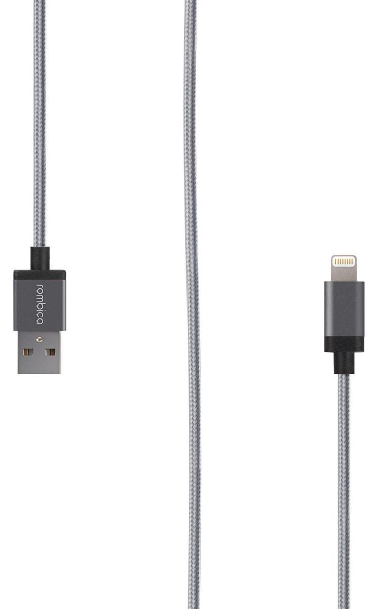 Rombica Digital IB-03 USB - Apple Lightning (MFI), Grey кабель (1 м)CB-IB03Кабель Digital IB-03 USB - Apple Lightning (MFI) в красивой тканевой оплетке серого цвета - пожалуй, лучший аксессуар для зарядки вашего гаджета, а также для передачи данных. Длина 1 метр позволит комфортно пользоваться вашим устройством - звонить, фотографировать, снимать видео, даже если оно подключено к внешнему источнику питания.
