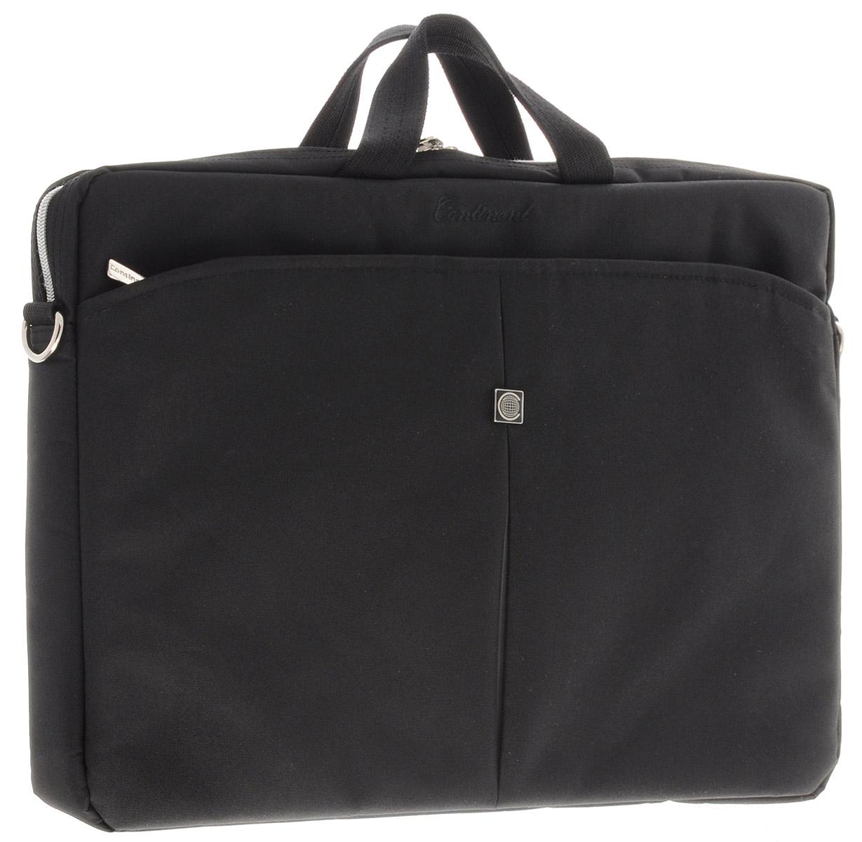 Continent CC-01, Black Silver сумка для ноутбука 15,6CC-01 Black/SilverЛегкая сумка для ноутбука Continent CC-01 с вертикальной загрузкой.Стенки сделаны из пенообразного материала для защиты ноутбука.Карман-органайзер застегивается на молнию.Удобный плечевой ремень.