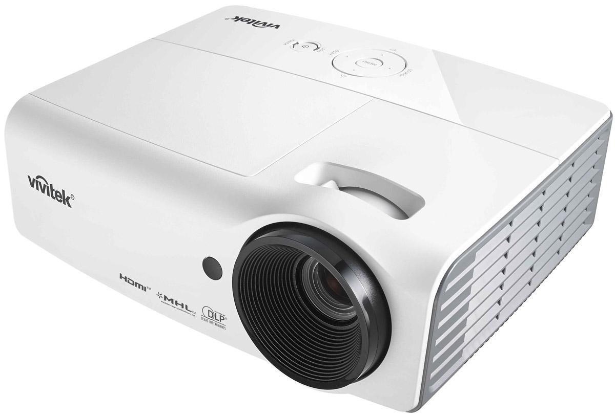 Vivitek D557WH мультимедийный проектор814964338792Vivitek D557WH – это мультимедийный проектор с оригинальным разрешением WXGA, которое особенно удобно при использовании проектора в сочетании с современными ноутбуками и широкоформатными экранами.Созданный на основе технологий DLP и BrilliantColor, Vivitek D557WH сочетает высокий уровень яркости (3000 ANSI Лм), контрастности (15000:1), набор основных аналоговых и цифровых интерфейсов (включая HDMI v1.4 + MHL), простоту управления и обслуживания, а также современные функции, в том числе поддержку Direct 3D через HDMI, что гарантирует владельцу долгие годы безупречной работы и совместимость с мультимедийными приложениями сегодня и в будущем.Благодаря новому алгоритму управления лампой и низким (0,5 Ватт) расходом энергии в режиме ожидания, отличительной особенностью нового проектора являются долговечность и экологичность. Срок службы лампы в режиме Dynamic ECO достигает 10000 часов, что значительно сокращает временные и финансовые затраты на обслуживание проектора.Модель D557WH рекомендована для применения в переговорных комнатах, учебных классах, барах, ресторанах, для проецирования рекламы и другого. Белый цвет корпуса позволяет незаметно вписать устройство практически в любой интерьер.Чип: 0.65 DMDМаксимальное поддерживаемое разрешение: 1920x1200 (60 Гц)Проекционная система: DLPПроекционное отношение: 1.54-1.71:1Параметры объектива: F=2.52-2.73 мм, f=21.8-24 ммЗум, фокусировка: 1.1xОффсет: 114%