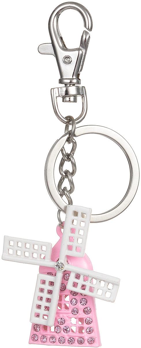 Брелок Fashion House, цвет: белый, розовый. FH26007Брелок для ключейОригинальный брелок Fashion House выполнен в виде мельницы, декорированной стразами, с вращающимся пропеллером. Брелок оснащен крупным крепежным кольцом и карабином на миниатюрной цепочке.Этот аксессуар станет прекрасным дополнением к подарку и украсит повседневную жизнь его обладателя.