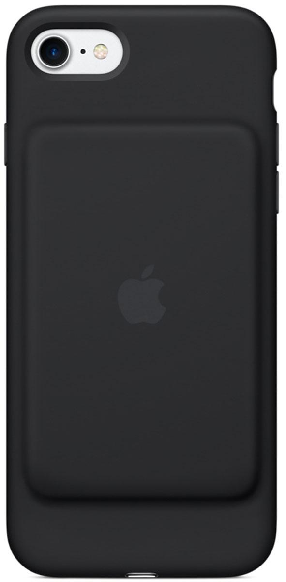 Apple Smart Battery Case чехол для iPhone 7, BlackMN002ZM/AЧехол Smart Battery Case разработан специально для увеличения заряда аккумулятора и защиты iPhone 7. Мягкая подкладка из микроволокна защищает корпус iPhone, а его внешняя силиконовая поверхность очень приятна на ощупь. Чехол сделан из мягкого эластомерного материала, поэтому его легко надевать и снимать.Одновременно заряжая iPhone и чехол с аккумулятором, вы получите возможность говорить по телефону до 26 часов, работать в интернете через LTE до 22 часов и ещё дольше слушать музыку и смотреть видео. Когда iPhone находится в чехле Smart Battery Case, на экране блокировки и в Центре уведомлений отображается индикатор аккумулятора с точными данными об остатке заряда.Чехол поддерживает аксессуары с разъёмом Lightning, например кабель Lightning/USB (входит в комплект поставки iPhone). Его также можно использовать с док-станцией для iPhone с разъёмом Lightning (продаётся отдельно).