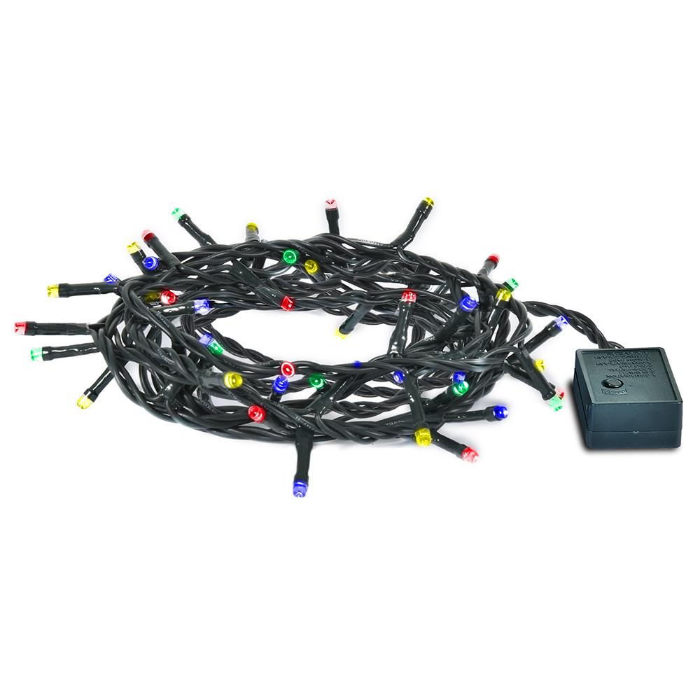 Гирлянда электрическая Vegas Нить, с контроллером, 100 ламп, длина 10 м, свет: мультиколор. 5506155061Светодиодные гирлянды для домашнего пользования VEGAS Электрогирлянда Нить 100 разноцветных LED ламп, контроллер 8 режимов, зеленый провод, 10 м, 220 v /20