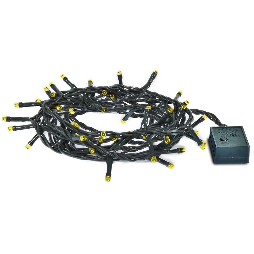 Гирлянда электрическая Vegas Нить, с контроллером, 100 ламп, длина 10 м, свет: желтый. 5506455064Светодиодные гирлянды для домашнего пользования VEGAS Электрогирлянда Нить 100 желтых LED ламп, контроллер 8 режимов, зеленый провод, 10 м, 220 v /20