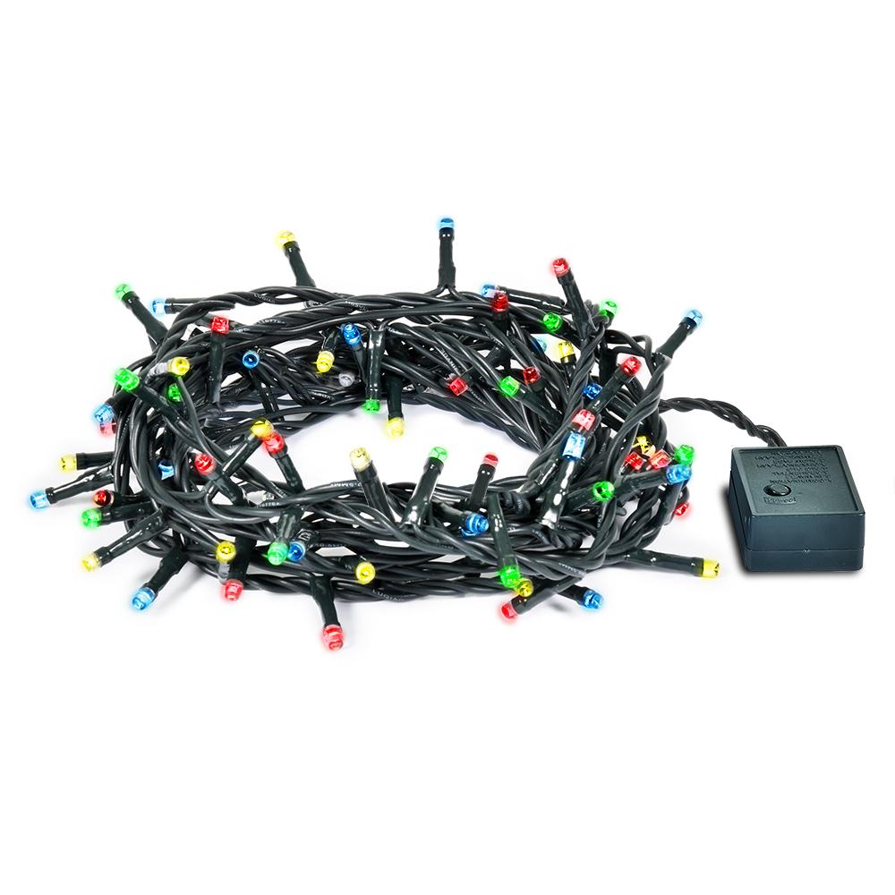 Гирлянда электрическая Vegas Нить, с контроллером, 200 ламп, длина 20 м, свет: мультиколор. 5506755067Светодиодные гирлянды для домашнего пользования VEGAS Электрогирлянда Нить 200 разноцветных LED ламп, контроллер 8 режимов, зеленый провод, 20 м, 220 v /20