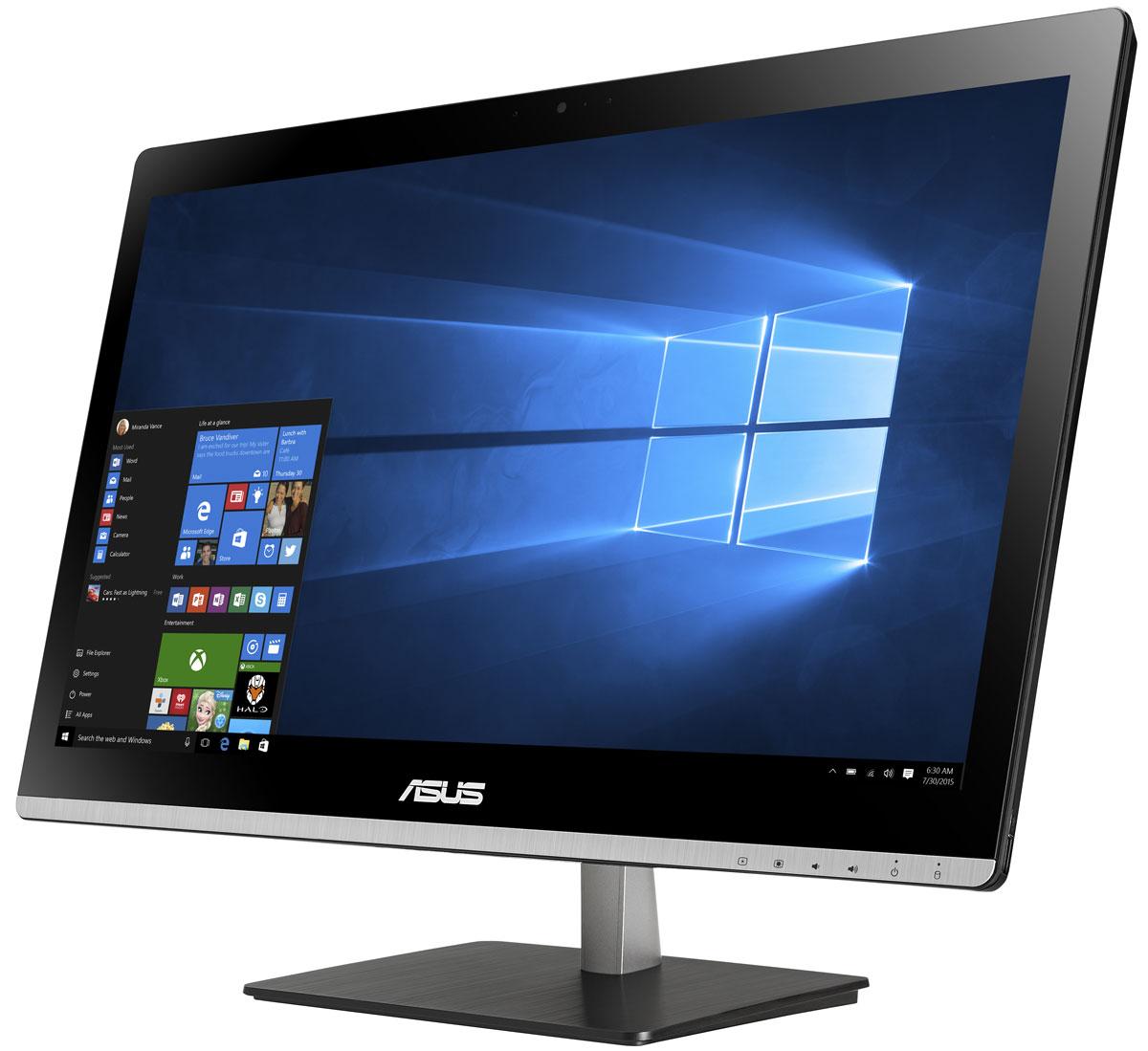 ASUS Vivo AiO V220ICUT, Black моноблок (V220ICUT-BG053X)V220ICUT-BG053XВ тонком и компактном корпусе моноблока Asus Vivo AiO V220ICUT разместились все компоненты современного компьютера - дисплей, процессор, видеокарта, память, диск и многое другое.Функциональность и компактность. Это основные принципы, применяемые Asus в проектировании настольных ПК. Современный моноблок - это компактное устройство с полным набором возможностей настольного компьютера. Благодаря тонкому корпусу он не занимает много места на столе, способствуя созданию уютной обстановки в помещении.Стильная серебристая подставка, используемая в моноблоке Asus Vivo AiO V220ICUT, придает ему дополнительную изящность. Уникальный шарнирный механизм спрятан под задней панелью, что делает внешний вид устройства еще более утонченным и органичным. Данная модель обладает ультратонким экраном со светодиодной подсветкой, обеспечивающим высокую яркость и контрастность изображения. Благодаря широким углам обзора матрицы картинка на экране моноблока не претерпевает каких-либо искажений цветопередачи при изменении угла, под которым вы смотрите на экран. Разрешение Full HD (1920x1080) позволяет наслаждаться играми и фильмами с безупречной четкостью.Моноблоки Asus Vivo AiO оснащены встроенными стереодинамиками и поддерживают эксклюзивную технологию ASUS SonicMaster Premium, гарантирующую невероятно мощное и реалистичное звучание. Для настройки звучания служит функция Audio Wizard, предлагающая выбрать один из пяти вариантов работы аудиосистемы, каждый из которых идеально подходит для определенного типа приложений (музыка, фильмы, игры и т.д.). Благодаря выходу HDMI к компьютеру Vivo AiO можно подключить телевизор с большой диагональю для передачи на него изображения и звукового сопровождения.Точные характеристики зависят от модели.Моноблок сертифицирован EAC и имеет русифицированную клавиатуру и Руководство пользователя.