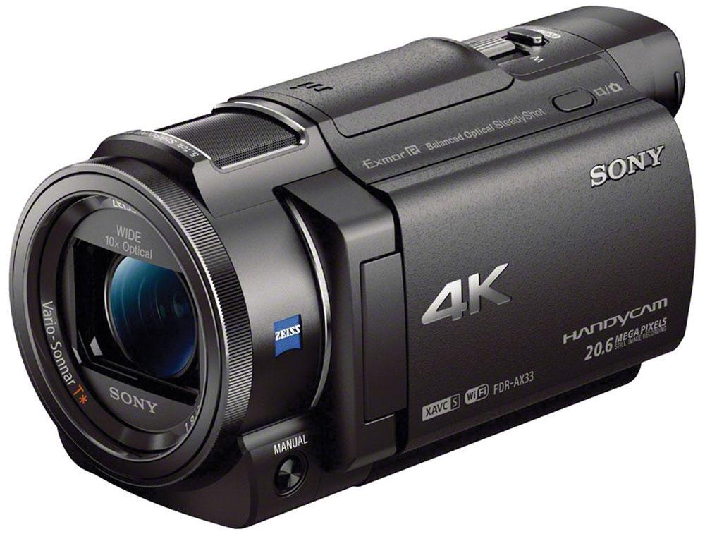 Sony FDR-AX33 4K цифровая видеокамераFDRAX33B.CELБлагодаря компактной видеокамере Sony FDR-AX33 теперь вы можете запечатлеть все мельчайшие детали в качестве 4K.Оживите воспоминания в 4K и рассмотрите в четыре раза больше деталей, чем в Full HD. Видеокамера FDR-AXP33 оснащена сбалансированным стабилизатором изображения Optical SteadyShot и оптикой ZEISS.Камера FDR-AX33 на 30% компактнее и портативнее свой предшественницы. Однако, расширенные функции ручного управления позволяют настраивать необходимые параметры в соответствии с условиями съемки.Усовершенствованный сбалансированный оптический стабилизатор изображения SteadyShot обеспечивает невероятную устойчивость камеры и держит под контролем весь процесс съемки от линзы объектива до матрицы.Чтобы повысить уровень изображения видеокамеры до профессионального, Sony совершенствует революционное разрешение с помощью ведущих технологий, которые позволяют в полной мере использовать возможности новейших форматов записи.Не все изображения имеют одинаковое качество записи. Благодаря интеллектуальному цифровому сжатию формат XAVC S обеспечивает запись в 4K с высокой скоростью передачи до 100 Мбит/с.Матрица улавливает достаточно света, что позволяет полностью уловить и передать атмосферу приглушенного освещения в помещении или вести съемку в условиях недостаточного освещения.Процессор изображений BIONZ X обеспечивает создание более реалистичных изображений и поддерживает новые функции для ускоренной обработки данных.Поддержка Wi-Fi и NFC позволяет управлять видеокамерой FDR-AX33 удаленно и передавать контент с камеры на смартфон или планшет с помощью приложения PlayMemories Mobile для мобильных устройств.