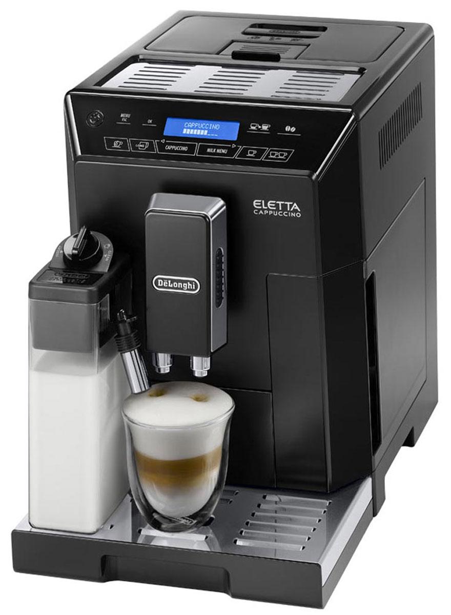 DeLonghi Eletta Cappuccino ECAM 44.664.B кофемашина0132215237Кофемашина Eletta ECAM 44.664.B от DeLonghi компактна, надежна и удобна в управлении.Простой и приятный процесс приготовления кофе практически не требует вашего участия: засыпав зёрна и заполнив резервуар водой, вы выбираете желаемый напиток и задаёте нужную программу. Кофемолка, кофеварка и устройство для взбивания молока, объединённые в одной машине, приготовят ваш любимый кофе, а вам останется только наслаждаться изумительным вкусом ароматного бодрящего напитка.Правильно измельчить любой сорт кофейных зерен вы сможете благодаря наличию в кофемолке 13 степеней помола. Вместительный контейнер для зерен рассчитан на 400 г, и оборудован специальной крышкой, которая помогает сохранять аромат. Наличие подогрева для чашек дает возможность готовить напиток по итальянской традиции, в предварительно подогретую посуду, чтобы максимально раскрыть вкус и аромат кофе.Наслаждайтесь превосходным сочетанием удовольствия. Воздушный капучино, с плотной молочной пенкой, всегда идеальной температуры... до последней капли. Автоматическая функция промывки капучинатора, встроенная в регулятор плотности молочной пенки, гарантирует легкую и безопасную очистку всех деталей системы.Интуитивно понятная сенсорная панель управления с двухстрочным текстовым дисплеем на русском языке обеспечивает удобное, простое и понятное управление всеми функциями кофемашины.Кроме отдельных кнопок для приготовления Капучино, Латте Макиато и Кофе Латте откройте для себя мир молочных напитков нажав кнопку Milk menu, в котором вы сможете выбрать из горячего молока, Flat White, Эспрессо Макиато и My Milk - опция, которая позволяет настроить рецепт собственного напитка на основе молока.Встроенная кофемолкаВместимость резервуара для зерен: 400 гВместимость контейнера для гущи: 14 порцийСъемный блок приготовленияСистема быстрой подачи параСъемный резервуар для капель с индикацией наполненностиПрограммируемая жесткость водыРегулировка дозатора под высоту ча