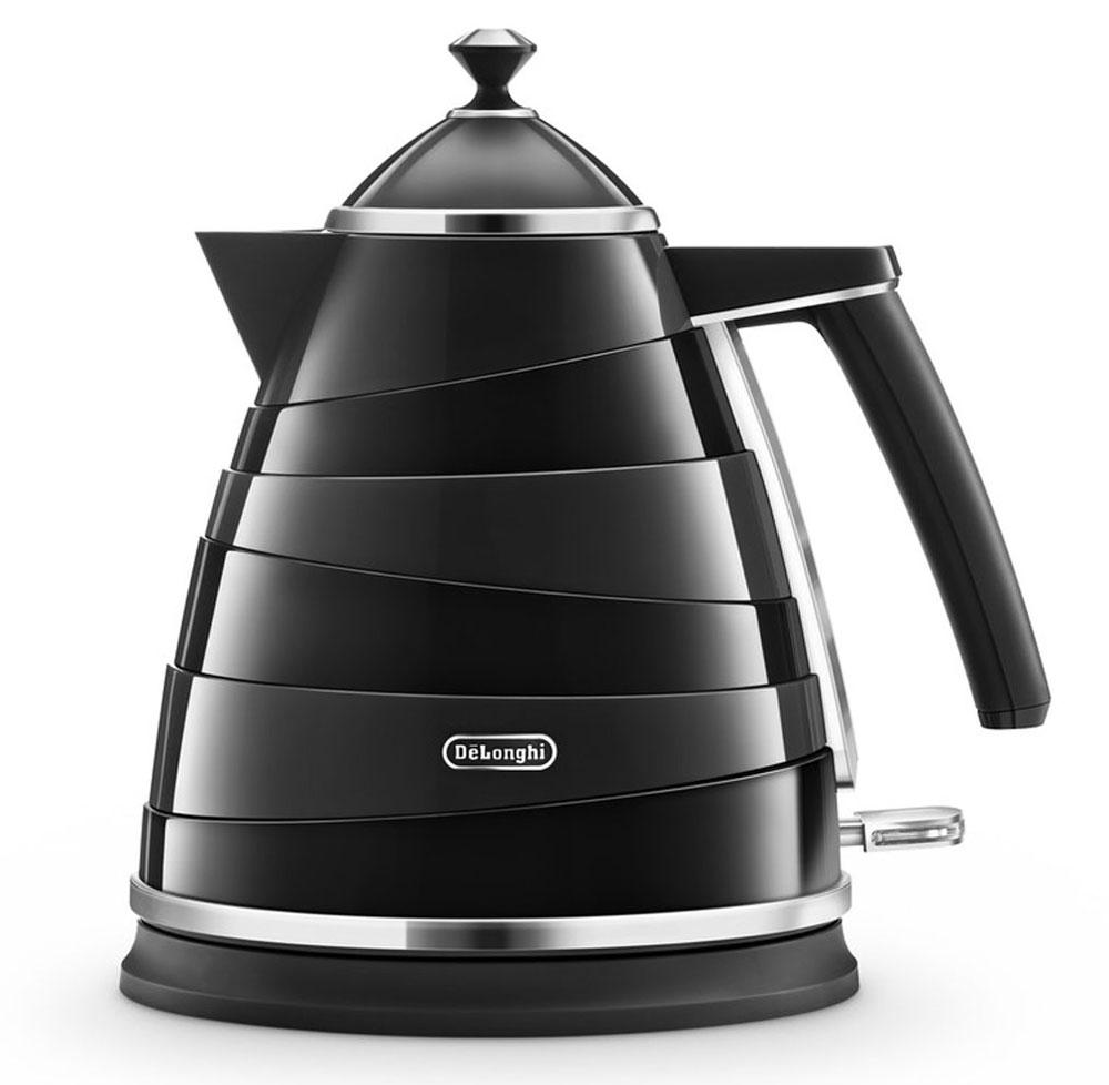 DeLonghi KBA 2001, Black электрочайникKBA 2001Электрочайник DeLonghi KBA 2001 из дизайнерской коллекции Avoolta выполнен в очень интересном стиле. Его ассиметричные линии, сочетание пластика с хромированными деталями сделают этот чайник изюминкой любого интерьера кухни или офиса.Вам удобнее держать чайник в правой или левой руке? Это неважно, если у вас есть DeLonghi KBA 2001, ведь он оснащен подставкой, на которой его можно повернуть в любую удобную для вас сторону на 360 градусов. Контролируйте количество жидкости в чайнике с помощью индикатора уровня воды. Благодаря съемному фильтру, вы каждый день сможете наслаждаться чистым вкусом любимого чая без всяких примесей.Хотите, чтобы ваш чайник прослужил вам как можно дольше? С трехуровневой системой безопасности, которой оснащен KBA 2001, устройство будет радовать вас своей работой длительное время. Суть защиты заключается в автоотключении чайника в трёх случаях – при поднятии устройства с подставки, при закипании воды и при её отсутствии.