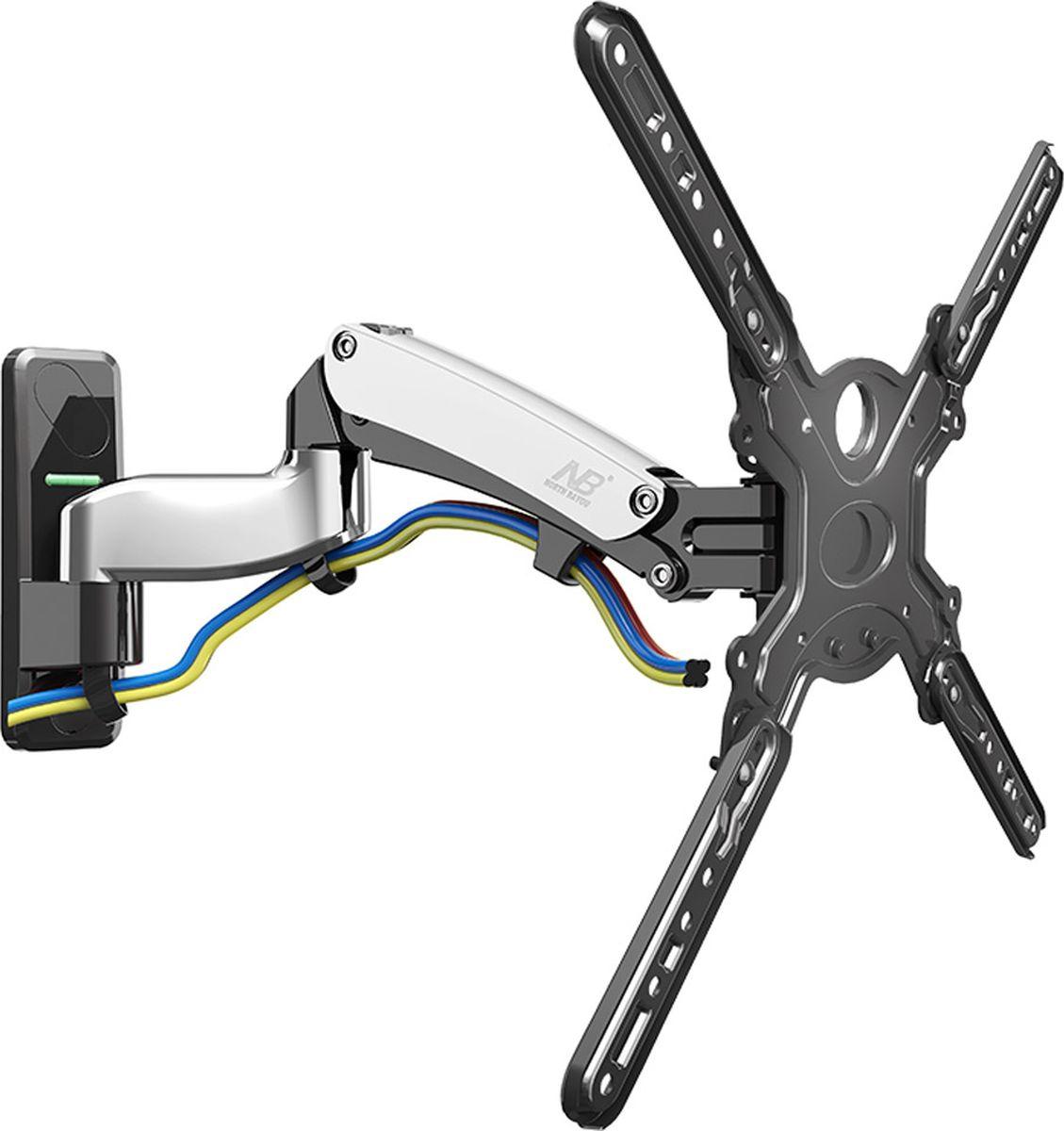 North Bayou NB F500, Chrome кронштейнхромированныйНастенный наклонно-поворотный кронштейн с регулировкой по высоте North Bayou NB F500 подходит для телевизоров с диагональю 50-60 и с весом от 14 до 23 кг. Благодаря встроенной газовой пружине вы можете с лёгкостью перемещать телевизор не только влево и вправо, но и вверх, и вниз, при этом не прилагая усилий и не производя дополнительной фиксации. Именно технологии надёжных осевых соединений с газовой пружиной позволят вам отрегулировать положение телевизора для самого комфортного просмотра. Встроенный кабель-канал позволяет расположить провода внутри кронштейна, что придает эстетический вид всей конструкции.