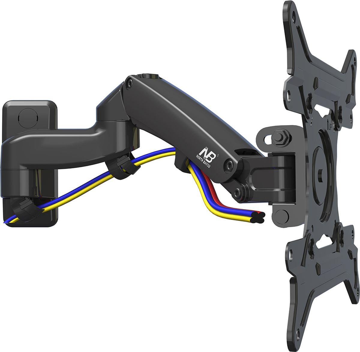 North Bayou NB F300, Black кронштейнчёрныйНастенный наклонно-поворотный кронштейн с регулировкой по высоте North Bayou NB F300 подходит для телевизоров с диагональю 30-40 и с весом от 5 до 10 кг. Благодаря встроенной газовой пружине вы можете с лёгкостью перемещать телевизор не только влево и вправо, но и вверх, и вниз, при этом не прилагая усилий и не производя дополнительной фиксации. Именно технологии надёжных осевых соединений с газовой пружиной позволят вам отрегулировать положение телевизора для самого комфортного просмотра.