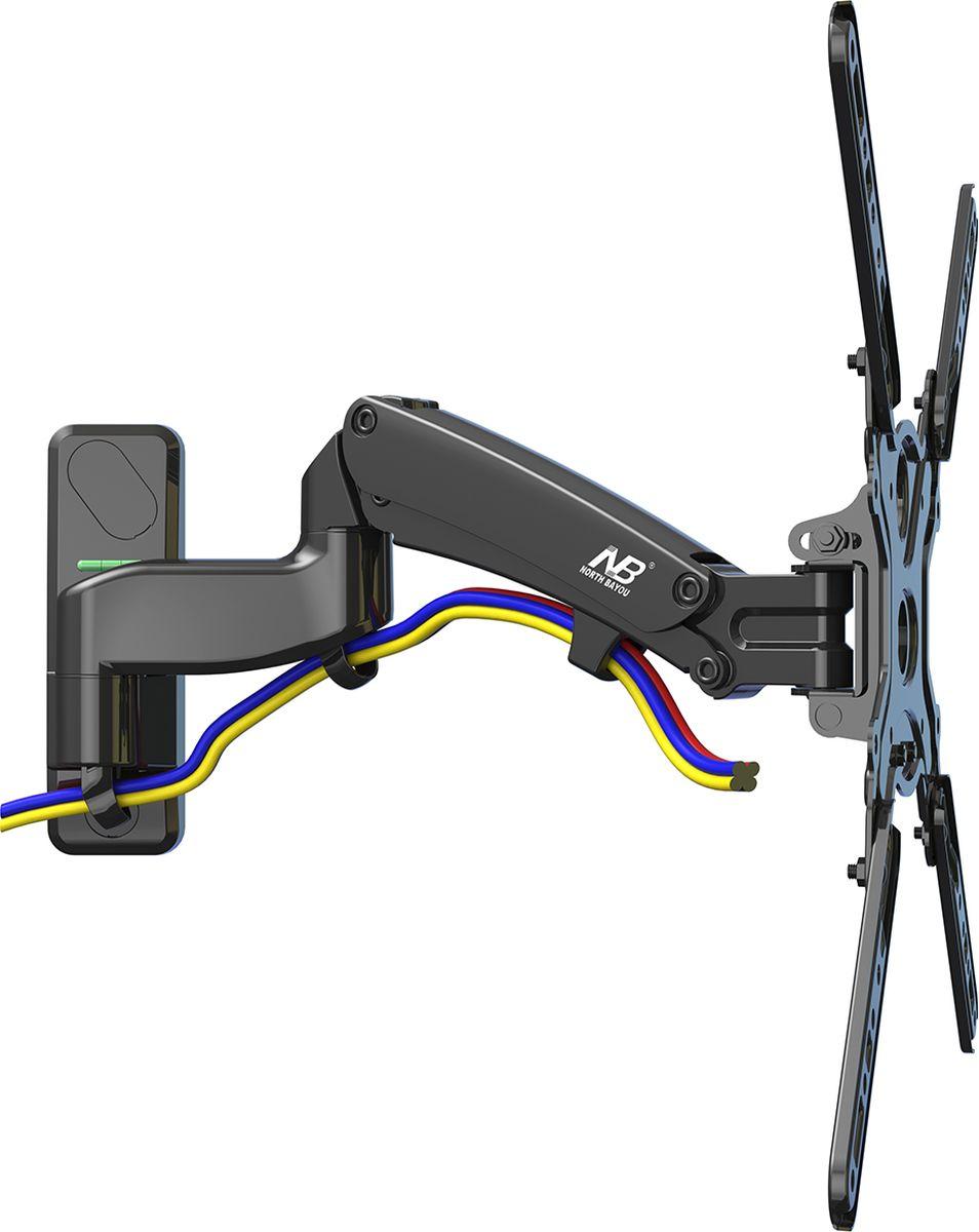 North Bayou NB F450, Black кронштейнчёрныйНастенный наклонно-поворотный кронштейн с регулировкой по высоте North Bayou NB F450 подходит для телевизоров с диагональю 40-50 и с весом от 8 до 16 кг. Благодаря встроенной газовой пружине вы можете с лёгкостью перемещать телевизор не только влево и вправо, но и вверх, и вниз, при этом не прилагая усилий и не производя дополнительной фиксации. Именно технологии надёжных осевых соединений с газовой пружиной позволят вам отрегулировать положение телевизора для самого комфортного просмотра. Встроенный кабель-канал позволяет расположить провода внутри кронштейна, что придает эстетический вид всей конструкции.
