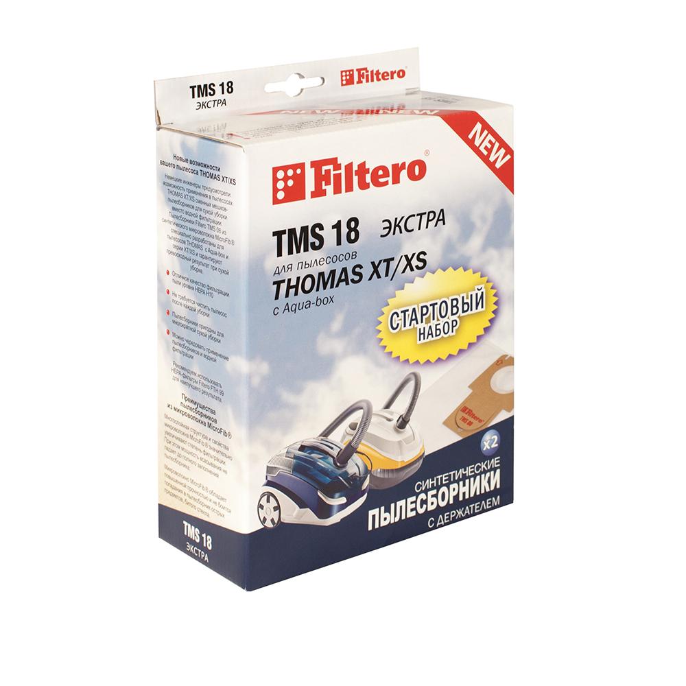 Filtero TMS 18 Экстра комплект пылесборников для Thomas XT/XS, 2 штTMS 18 (2+1) ЭкстраМешки-пылесборники Filtero TMS 18 Экстра СТАРТОВЫЙ НАБОР 2 штуки с держателем. Пылесборники Filtero ЭКСТРА произведены из синтетического микроволокна MicroFib. Очень прочные, они не боятся острых предметов и влаги, собирают больше пыли (до 50%) и обеспечивают уровень очистки воздуха 99,9%, что значительно выше, чем у бумажных пылесборников. При этом мощность всасывания пылесоса сохраняется в течение всего периода службы пылесборника.Стартовый набор TMS 18 включает в себя два сменных пылесборника Filtero TMS 08 и держатель Filtero. Сохраняя держатель Filtero из набора TMS 18 для его многократного использования в дальнейшем можно приобретать пылесборники Filtero TMS 08, без держателя.Совместимые модели:THOMAS: Allergy & Family, Aqua-box Compact, Cat & Dog XT, Lorelea XT, Mistral XS, Mokko XT, Multi clean X10 Parquet, Parkett Master XT, Parkett Prestige, XT, Parkett Style XT, Perfect Air Allergy Pure, Perfect Air Animal Pure, Perfect Air Feel Fresh, Pet & Family, Sky XT, Twin XT, Vestfalia XT, Wave XT