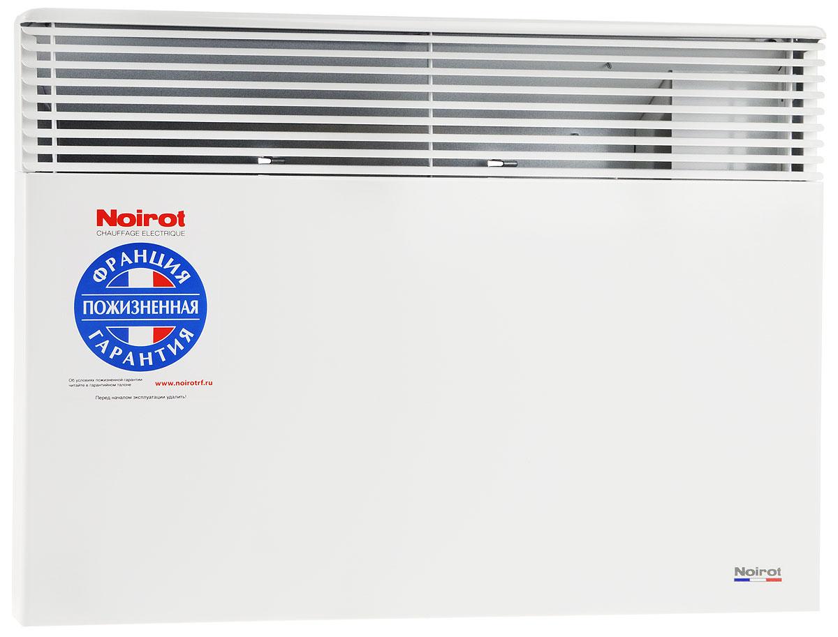 Noirot Spot E-5 1500W обогревательHYH1175FDFSNoirot Spot E-5 - это электрический обогреватель конвективного типа. Вся конструкция направлена на равномерное распределение тепла для обогрева с максимальным комфортом. Конвектор работает по принципу естественной конвекции. Холодный воздух, проходя через прибор и его нагревательный элемент, нагревается и выходит сквозь решетки-жалюзи, незамедлительно начиная обогревать помещение.Конструктивные особенности конвекторов серии Spot E-5 исключают возникновение посторонних шумов при нагреве и остывании электрических обогревателей и гарантируют полную безопасность в эксплуатации (отсутствие острых углов, нагрев поверхности не выше 60°С).Обогреватели серии оснащены электронным цифровым термостатом ASIC, который поддерживает температуру с точностью до 0,1°С. Высокая точность поддержания температуры приводит к экономии электроэнергии, увеличению срока службы прибора и созданию максимального комфорта в помещении без скачков температуры.Электронная автоматика выдерживает перепады напряжения от 150 В до 242 В, что наиболее актуально при частых скачках напряжения. На случай возможных перебоев с электропитанием в обогревателях предусмотрена функция авторестарта, восстанавливающая работу прибора в прежнем режиме.Обогреватели имеют II класс электрозащиты, не требуют специального подключения к электросети и не нуждаются в заземлении, что позволяет оставлять их включенными 24 часа в сутки. При точном соблюдении правил эксплуатации исключена любая возможность воспламенения.Все модели серии Spot E-5 выполнены в брызгозащищенном исполнении (IP 24) и могут применяться даже во влажных помещениях.