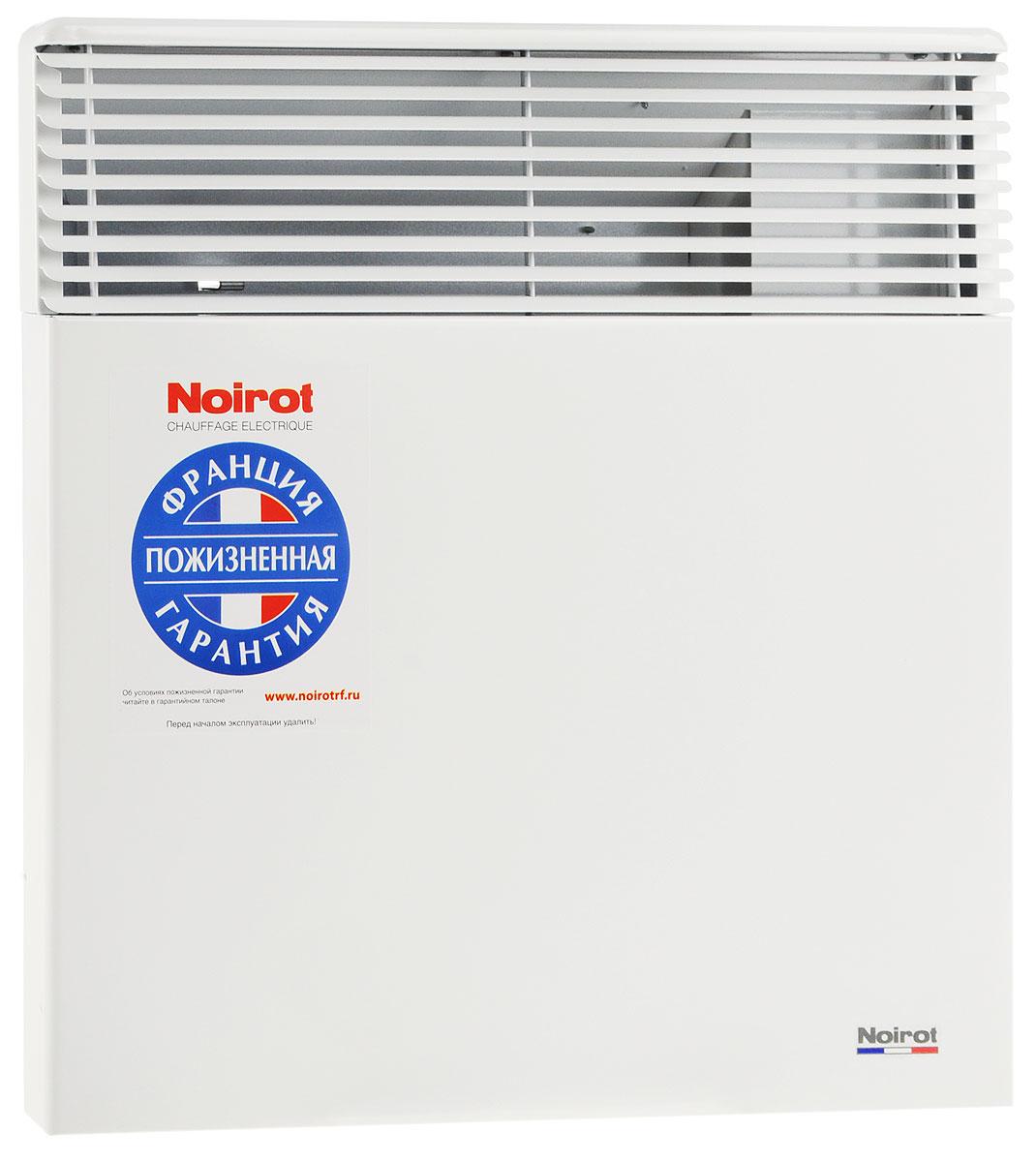 Noirot Spot E-5 1000W обогревательHYH1173FDFSNoirot Spot E-5 - это электрический обогреватель конвективного типа. Вся конструкция направлена на равномерное распределение тепла для обогрева с максимальным комфортом. Конвектор работает по принципу естественной конвекции. Холодный воздух, проходя через прибор и его нагревательный элемент, нагревается и выходит сквозь решетки-жалюзи, незамедлительно начиная обогревать помещение.Конструктивные особенности конвекторов серии Spot E-5 исключают возникновение посторонних шумов при нагреве и остывании электрических обогревателей и гарантируют полную безопасность в эксплуатации (отсутствие острых углов, нагрев поверхности не выше 60°С).Обогреватели серии оснащены электронным цифровым термостатом ASIC, который поддерживает температуру с точностью до 0,1°С. Высокая точность поддержания температуры приводит к экономии электроэнергии, увеличению срока службы прибора и созданию максимального комфорта в помещении без скачков температуры.Электронная автоматика выдерживает перепады напряжения от 150 В до 242 В, что наиболее актуально при частых скачках напряжения. На случай возможных перебоев с электропитанием в обогревателях предусмотрена функция авторестарта, восстанавливающая работу прибора в прежнем режиме.Обогреватели имеют II класс электрозащиты, не требуют специального подключения к электросети и не нуждаются в заземлении, что позволяет оставлять их включенными 24 часа в сутки. При точном соблюдении правил эксплуатации исключена любая возможность воспламенения.Все модели серии Spot E-5 выполнены в брызгозащищенном исполнении (IP 24) и могут применяться даже во влажных помещениях.