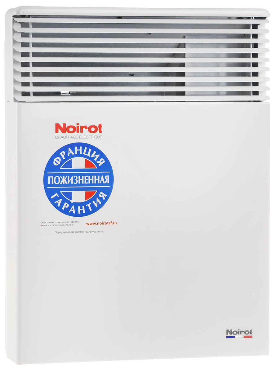 Noirot Spot E-5 750W обогревательHYH1172FDFSNoirot Spot E-5 — это электрический обогреватель конвективного типа. Вся конструкция направлена на равномерное распределение тепла для обогрева с максимальным комфортом. Конвектор работает по принципу естественной конвекции. Холодный воздух, проходя через прибор и его нагревательный элемент, нагревается и выходит сквозь решетки-жалюзи, незамедлительно начиная обогревать помещение.Конструктивные особенности конвекторов серии Spot E-5 исключают возникновение посторонних шумов при нагреве и остывании электрических обогревателей и гарантируют полную безопасность в эксплуатации (отсутствие острых углов, нагрев поверхности не выше 60°С).Обогреватели серии оснащены электронным цифровым термостатом ASIC, который поддерживает температуру с точностью до 0,1°С. Высокая точность поддержания температуры приводит к экономии электроэнергии, увеличению срока службы прибора и созданию максимального комфорта в помещении без скачков температуры.Электронная автоматика выдерживает перепады напряжения от 150 В до 242 В, что наиболее актуально при частых скачках напряжения. На случай возможных перебоев с электропитанием в обогревателях предусмотрена функция авторестарта, восстанавливающая работу прибора в прежнем режиме.Обогреватели имеют II класс электрозащиты, не требуют специального подключения к электросети и не нуждаются в заземлении, что позволяет оставлять их включенными 24 часа в сутки. При точном соблюдении правил эксплуатации исключена любая возможность воспламенения.Все модели серии Spot E-5 выполнены в брызгозащищенном исполнении (IP 24) и могут применяться даже во влажных помещениях.