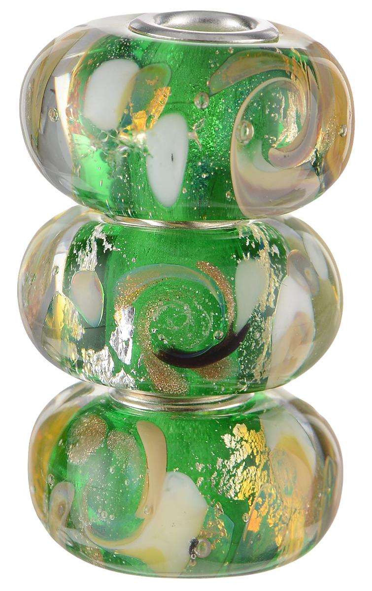 Европейские бусины Изумрудные облака, 3 штуки, цвет: зеленый, бежевый, серебряный. Ручная авторская работа. PDD016Кольцо для платкаСтильные бусины ручной работы Изумрудные облака не оставят вас равнодушной, благодаря своему дизайну. Они изготовлены из стекла, аметаллическая фурнитура выполнена в стиле Пандора. Этот цвет европейских бусин - из глубины высокогорного озера, а в зеркале чистейшей воды - изумрудные облака.Такие бусины помогут вам создать свои собственные яркие украшения.Браслет в комплект не входит!