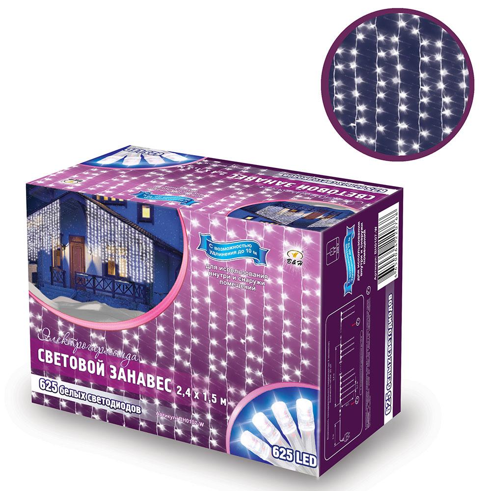 Электрогирлянда B&H Световой занавес, 625 белых светодиодов, 2,4 х 1,5 мBH0107-WЭлектрогирлянда B&H Световой занавес предназначена для декора окон, витрин, стен и потолочных проемов. Эти электрогирлянды состоят из 24 декоративных нитей со светодиодами. Нити расположены на расстоянии 10 см друг от друга, длина нитей 1,5 м. Имеют возможность последовательного подключения до 4 штук. Для использования внутри и снаружи помещений.Количество нитей: 24.Размер гирлянды: 2,4 х 1,5 м.Расстояние между нитями: 10 см.Длина нитей: 1,5 м.Количество диодов: 625 белых.