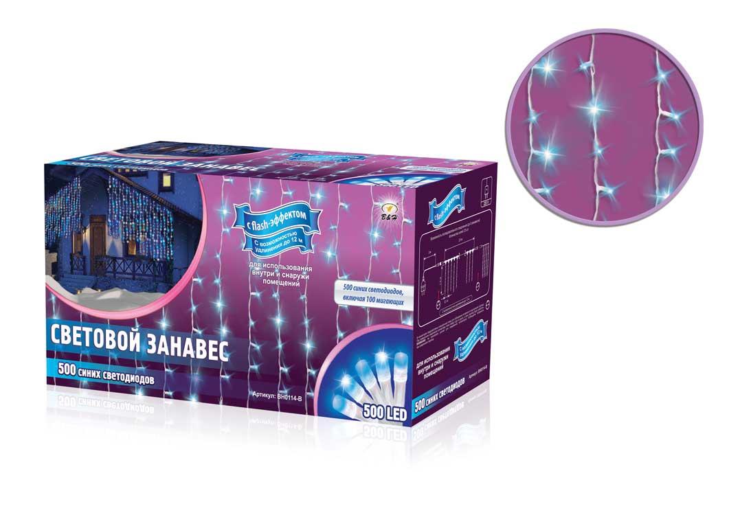 Электрогирлянда B&H Световой занавес, 600 синих светодиодов, 2,4 х 1,5 мBH0114-BЭлектрогирлянда B&H Световой занавес предназначена для декора окон, витрин, стен и потолочных проемов. Изделие представляет собой провода, на которых расположено 500 синих светодиодов с постоянным свечением и 100 мигающих синих (с эффектом flash). Гирлянды B&H Световой занавес можно соединить между собой (до 5 гирлянд).Длина гирлянды: 2,4 м.Длина нитей: 1,5 м.Максимальная длина присоединения гирлянд: 12 м.Количество диодов: 500 синих с постоянным свечением, 100 мигающих синих (с эффектом flash).