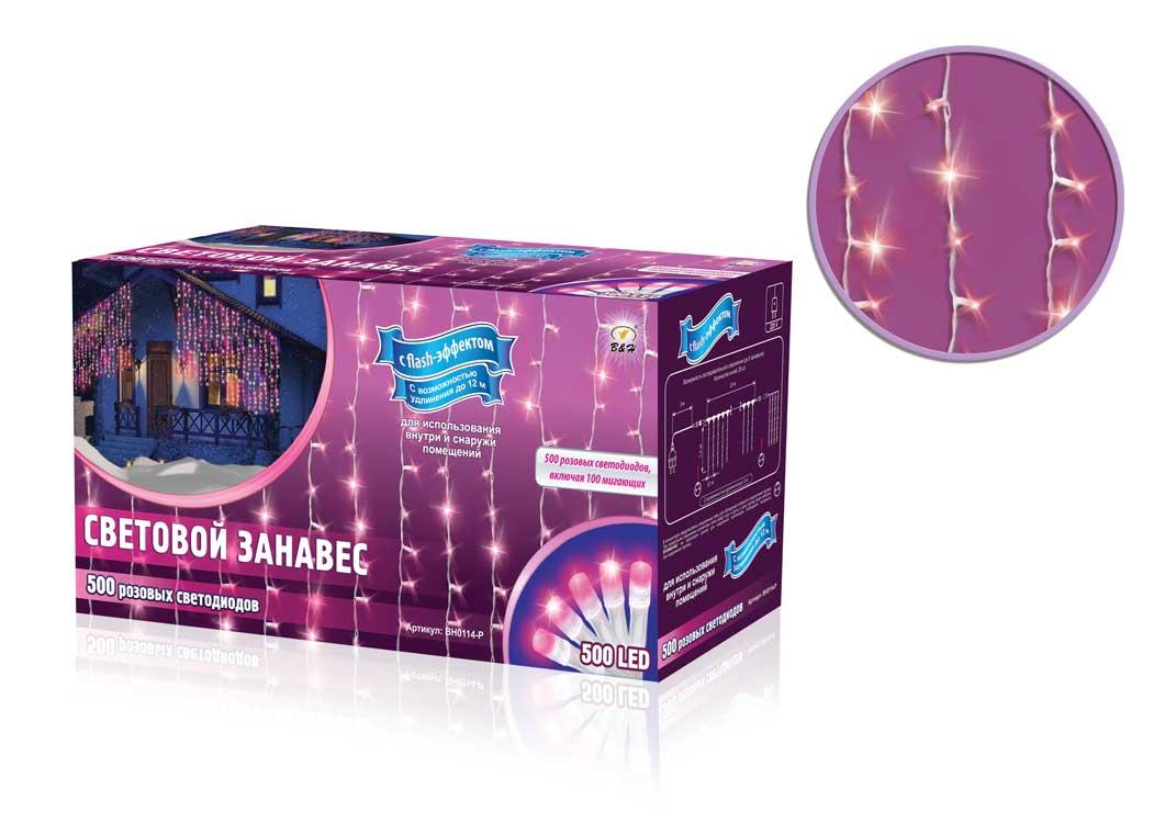 Электрогирлянда B&H Световой занавес, 600 розовых светодиодов, 2,4 х 1,5 мBH0114-PЭлектрогирлянда B&H Световой занавес предназначена для декора окон, витрин, стен и потолочных проемов. Изделие представляет собой провода, на которых расположено 500 розовых светодиодов с постоянным свечением и 100 мигающих розовых (с эффектом flash). Гирлянды B&H Световой занавес можно соединить между собой (до 5 гирлянд).Длина гирлянды: 2,4 м.Длина нитей: 1,5 м.Максимальная длина присоединения гирлянд: 12 м.Количество диодов: 500 розовых с постоянным свечением, 100 мигающих розовых (с эффектом flash).