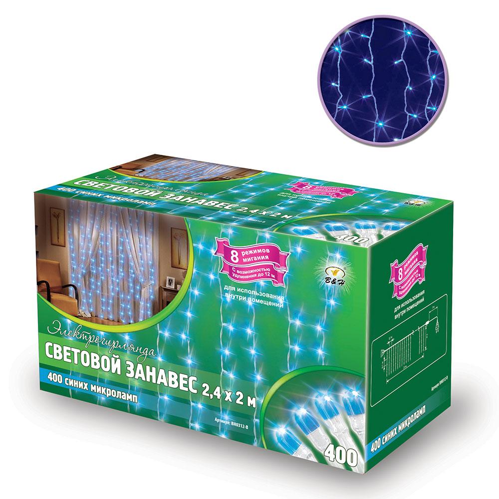 Электрогирлянда B&H Световой занавес, 400 синих микролампочек, 8 режимов, 2,4 х 2 мBH0312-BЭлектрогирлянда B&H Световой занавес предназначена для декора окон, витрин, стен и потолочных проемов. Изделие представляет собой провода, на которых расположено 400 микролампочек с контроллером (8 режимов). Можно соединить между собой до 5 гирлянд. Для использования внутри помещений.Количество нитей: 25.Длина шнура питания: 3 м.Длина гирлянды: 2,4 м.Длина нитей: 2 м.Количество режимов: 8.