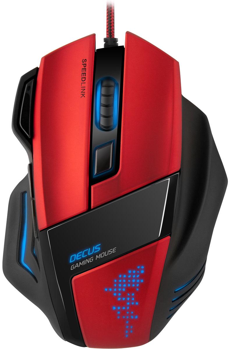 Speedlink Decus, Black Red мышь игроваяSL-6397-BKSpeedlink Decus предлагает максимум возможностей индивидуализации, чтобы сохранять концентрацию и точность даже во время длительных сражений. С помощью мощного конфигурационного ПО можно делать индивидуальные настройки, подчеркивать свой личный игровой стиль и идеально претворять в жизнь свои игровые рефлексы. Благодаря подсветке Speedlink Decus играет красками, которые отвечают атмосфере игр - так что она не только привлекает взгляды, но еще и служит индикатором выбранного профиля. Дополнительно прорезиненные боковые поверхности, очень удобная кнопка мыши и увеличенное место под пальцы обеспечивают оптимальный комфорт.5 профилей с разными настройками кнопок, датчика и цветовВнутренняя память для профилей: 128 кБитЧастота опроса: до 1000 Гц
