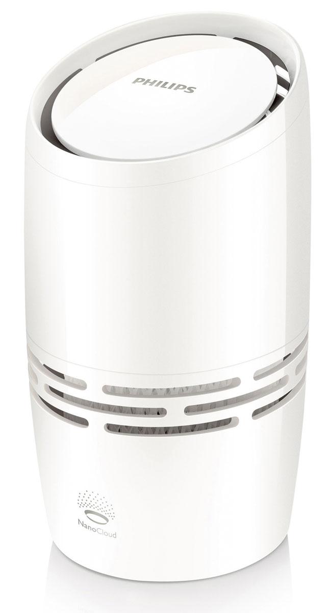 Philips HU4706/11 увлажнитель воздухаHU4706/11Компактный увлажнитель воздуха Philips HU4706/11 эффективно и безопасно борется с сухостью воздуха. Риск распространения вредных микроорганизмов ниже на 99 % по сравнению с ультразвуковыми увлажнителями. Никаких влажных поверхностей и белого налета (взвесей, приводящих к загрязнению воздуха)!Этот увлажнитель воздуха от Philips с технологией NanoCloud оснащен современной системой холодного испарения и действует в три этапа.Этап 1: сухой воздух поступает в увлажнитель, где крупные загрязнения, пыль и шерсть животных оседают на поглощающем фильтре. Этап 2: при помощи технологии холодного испарения NanoCloud происходит насыщение воздуха молекулами воды. Эта технология препятствует распространению в воздухе бактерий и появлению белой пыли. Этап 3: чистый увлажненный воздух подается в помещение и равномерно распределяется по комнате без образования водяного пара, обеспечивая комфорт вам и вашей семье. Прибор равномерно распределяет увлажненный воздух в помещении. Позволяет дышать чистым увлажненным воздухом дома и в офисе, обеспечивая комфортные условия для кожи. Как только в резервуаре заканчивается вода, срабатывает функция блокировки системы контроля качества воздуха, при этом увлажнитель отключается и загорается красный индикатор. Предусмотрены 2 способа наполнения резервуара водой: можно принести воду в емкости и заполнить резервуар на месте расположения увлажнителя, предварительно сняв с него верхнюю крышку, либо можно заполнить непосредственно сам резервуар водой из-под крана.Преимущества Philips HU4706/11:Гигиеничный и безопасный в использовании: никакого белого налета и влажных поверхностей.Равномерно распределяет увлажненный воздух в помещении.Автоотключение увлажнителя в случае отсутствия в нем воды.Два режима увлажнения для вашего удобства - бесшумный и обычный.Современная технология обеспечивает лучшие в классе показатели очистки.Резервуар легко наполнять водой.Рекомендация: заменяйте съемный увлажняющий фильтр (м